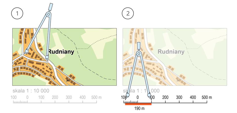 Dwie ilustracje przedstawiają sposób dokonywania pomiaru odległości na mapie za pomocą przyrządu zwanego kroczkiem.Na pierwszej ilustracji, od lewej strony, rozwarcie kroczka obejmuje odległość pomiędzy początkiem ikońcem mierzonej ulicy na mapie. Na drugiej ilustracji rozwarcie kroczka jest przyłożone do podziałki liniowej, na której jednemu centymetrowi odpowiada sto metrów wrzeczywistej odległości. Dzięki temu można odczytać długość zmierzonej ulicy, która wynosi tutaj sto dziewięćdziesiąt metrów.