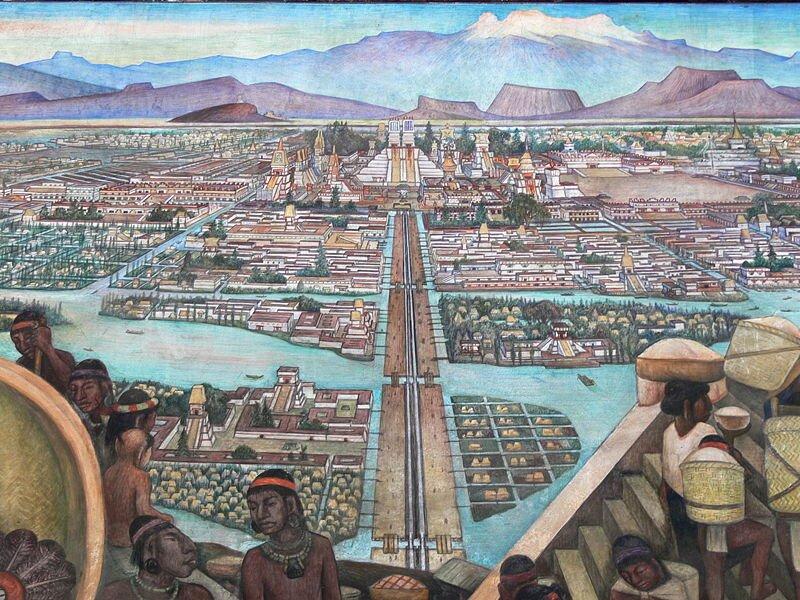 obraz przedstawia wyobrażenie miastaTenochtitlan