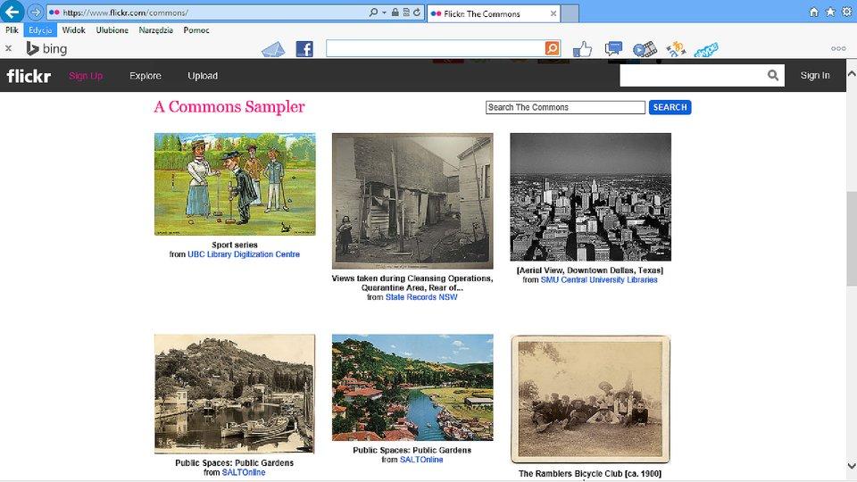 Zrzut okna strony http://www.flickr.com/commons zpierwszymi fotografiami