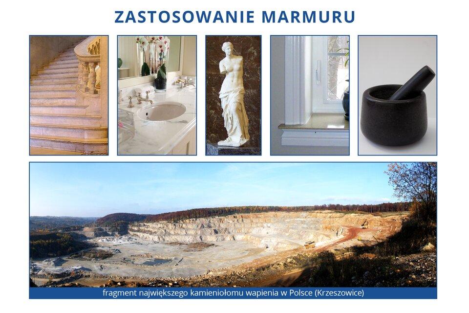 Infografika składa się z6 zdjęć rożnych zastosowań marmuru. Na górnym zdjęciu widać fragment największego kamieniołomu wapienia wPolsce wKrzeszowicach. Poniżej po kolei od lewej zdjęcia marmurowe schody, marmurowa szafka pod umywalkę, rzeźba zmarmuru, marmurowy parapet oraz marmurowe naczynie.