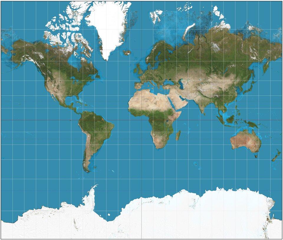 Ilustracja przedstawia mapę Ziemi. Mapa ma kształt prostokąta. Widoczne są wszystkie kontynenty. Na powierzchni kontynentów zielony kolor wskazuje powierzchnie zielone na przykład lasy. Miejsca pokryte śniegiem zaznaczone są kolorem białym, na przykład okolice biegunów. Kolor niebieski wokół kontynentów to morza ioceany. Wszystkie południki irównoleżniki położone są prostopadle do siebie. Miejsca przecięcia południków zrównoleżnikami są zawsze pod kątem prostym.
