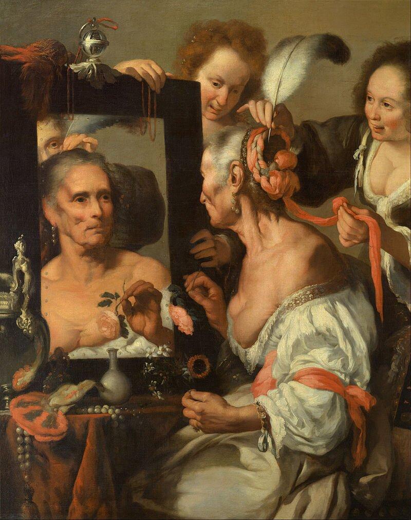 Stara kobieta przed lustrem ObrazowiStara kobieta przed lustremnadaje się również tytuły:PróżnośćlubVanitas. Wyjaśnij, czy są one zasadne. Źródło: Bernardo Strozzi, Stara kobieta przed lustrem, ok. 1615, domena publiczna.