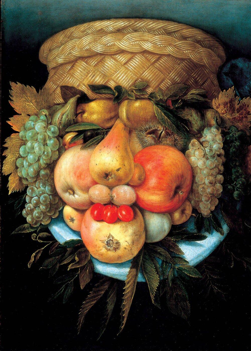 Kosz owoców Źródło: Giuseppe Arcimboldo, Kosz owoców, XVI wiek, domena publiczna.