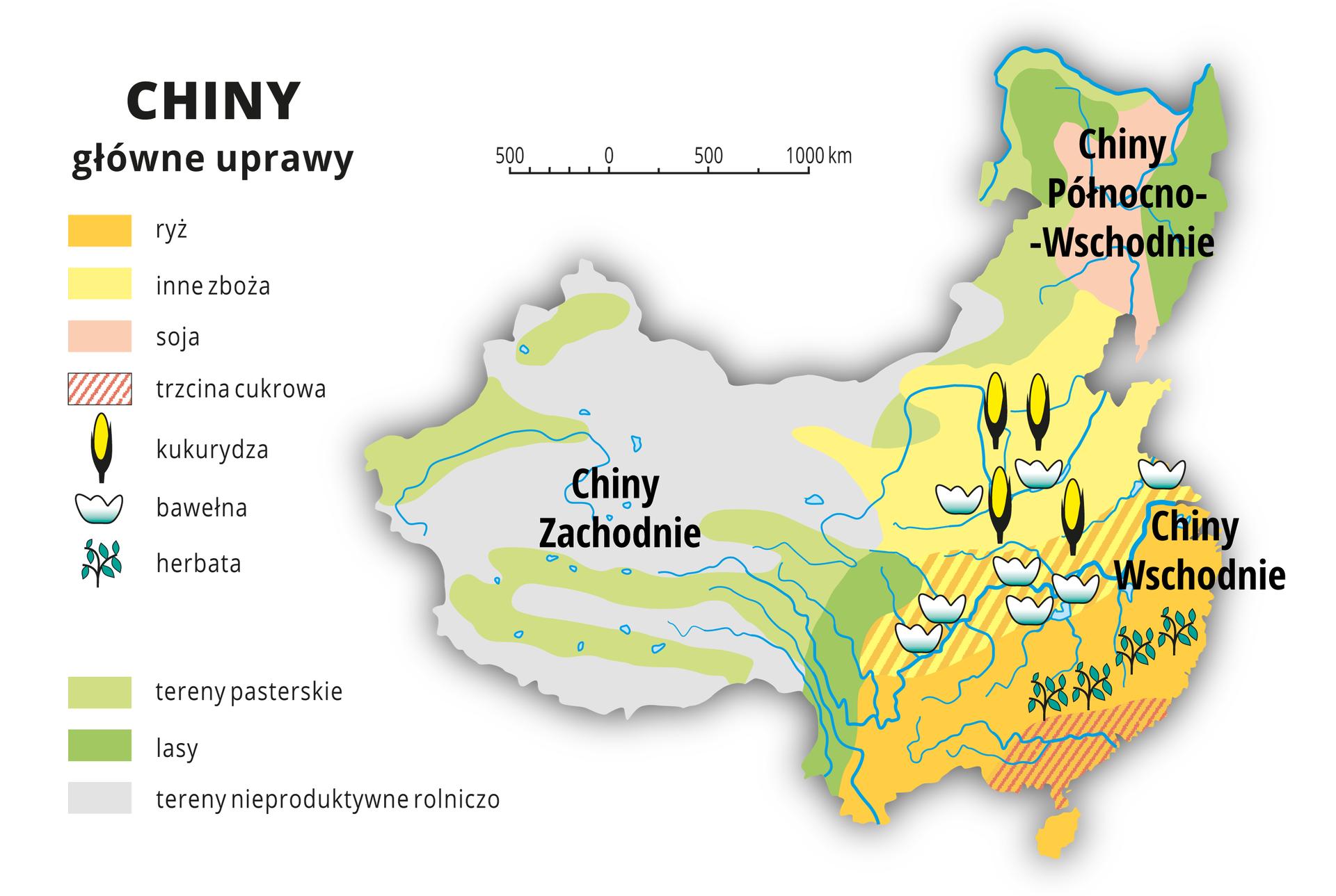 Ilustracja przedstawia mapę rolnictwa Chin. Na mapie kolorami isygnaturami przedstawiono główne uprawy. Chiny Wschodnie – ryż, inne zboża, herbata, bawełna ikukurydza. Chiny Zachodnie – tereny pasterskie, przewaga terenów nieproduktywnych rolniczo. Chiny Północno-Wschodnie – lasy itereny pasterskie, uprawa soi. Wlegendzie opisano kolory iznaki użyte na mapie.