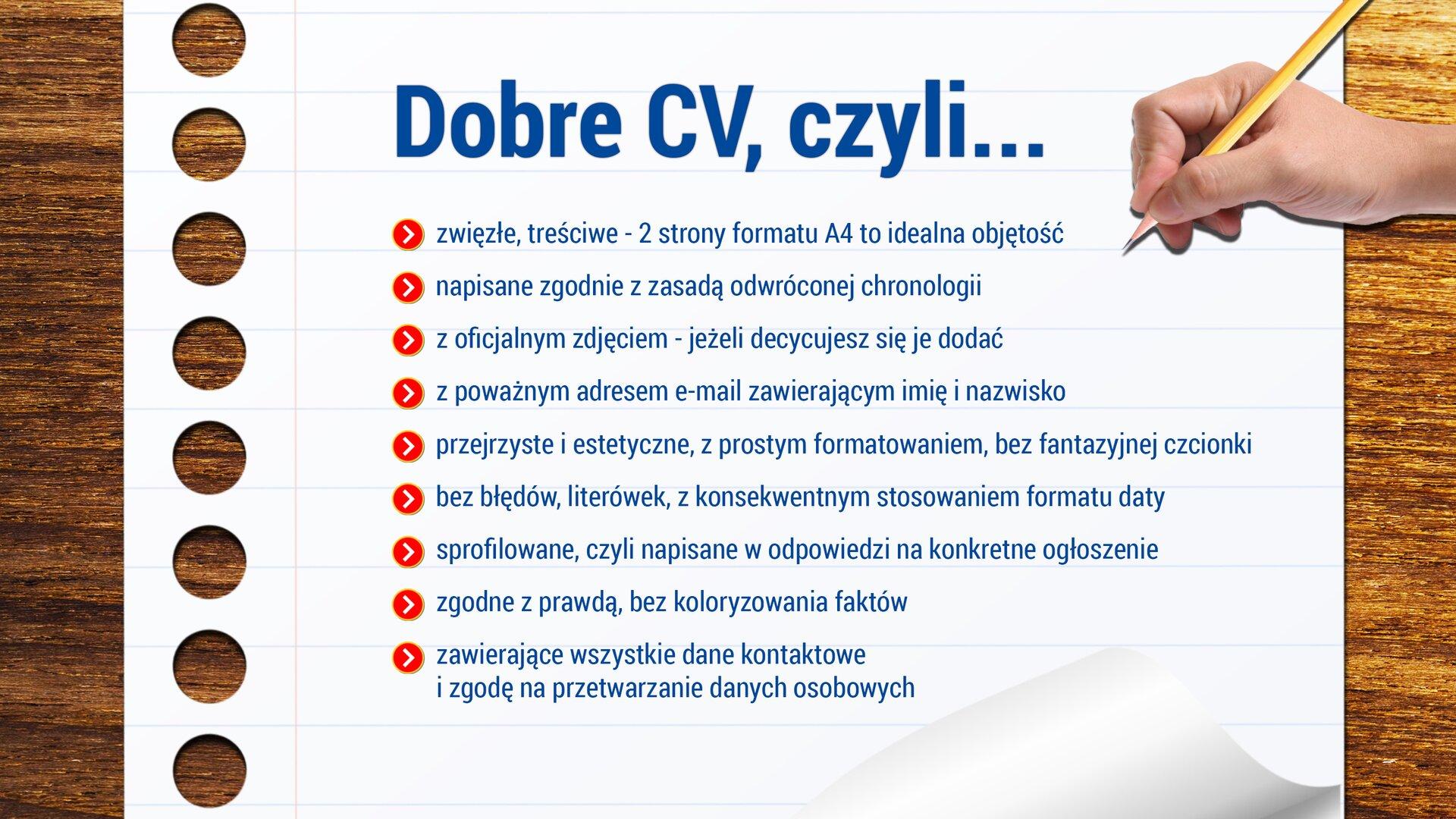 """Na drewnianym blacie umieszczono kartkę zzeszytu, awniej nagłówek: """"Dobre CV, czyli…"""". Poniżej wpunktach wymienione są cechy dobrego CV: """"zwięzłe, treściwe – 2 strony formatu A4 to idealna objętość; napisane zgodnie zzasadą odwróconej chronologii; zoficjalnym zdjęciem – jeżeli decydujesz się je dodać; zpoważnym adresem e-mail zawierającym imię inazwisko; przejrzyste iestetyczne, zprostym formatowaniem, bez fantazyjnej czcionki; bez błędów, literówek, zkonsekwentnym stosowaniem formatu daty; sprofilowane, czyli napisane wodpowiedzi na konkretne ogłoszenie; zgodnie zprawdą, bez koloryzowania faktów; zawierające wszystkie dane kontaktowe izgodę na przetwarzanie danych osobowych""""."""