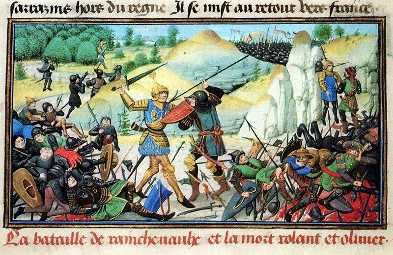 Bitwa wwąwozie Roncevaux, śmierć Rolanda iOliviera Źródło: Loyset Liédet, Bitwa wwąwozie Roncevaux, śmierć Rolanda iOliviera, 1461–1462, Bibliothèque de l'Arsenal, domena publiczna.