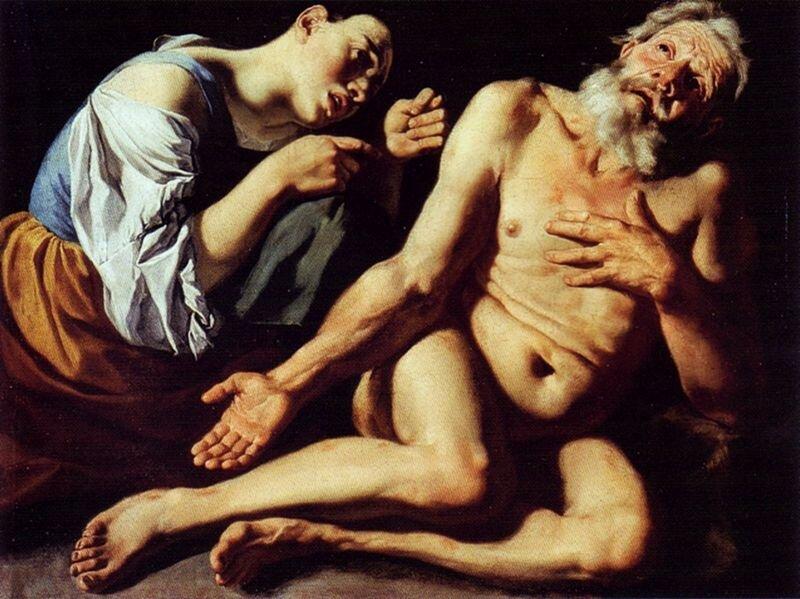 Hiob wyszydzany przez żonę. Źródło: Gaspare Traversi, Hiob wyszydzany przez żonę., pierwsza połowa XVIII wieku, olej na płótnie, Muzeum Narodowe wWarszawie, domena publiczna.