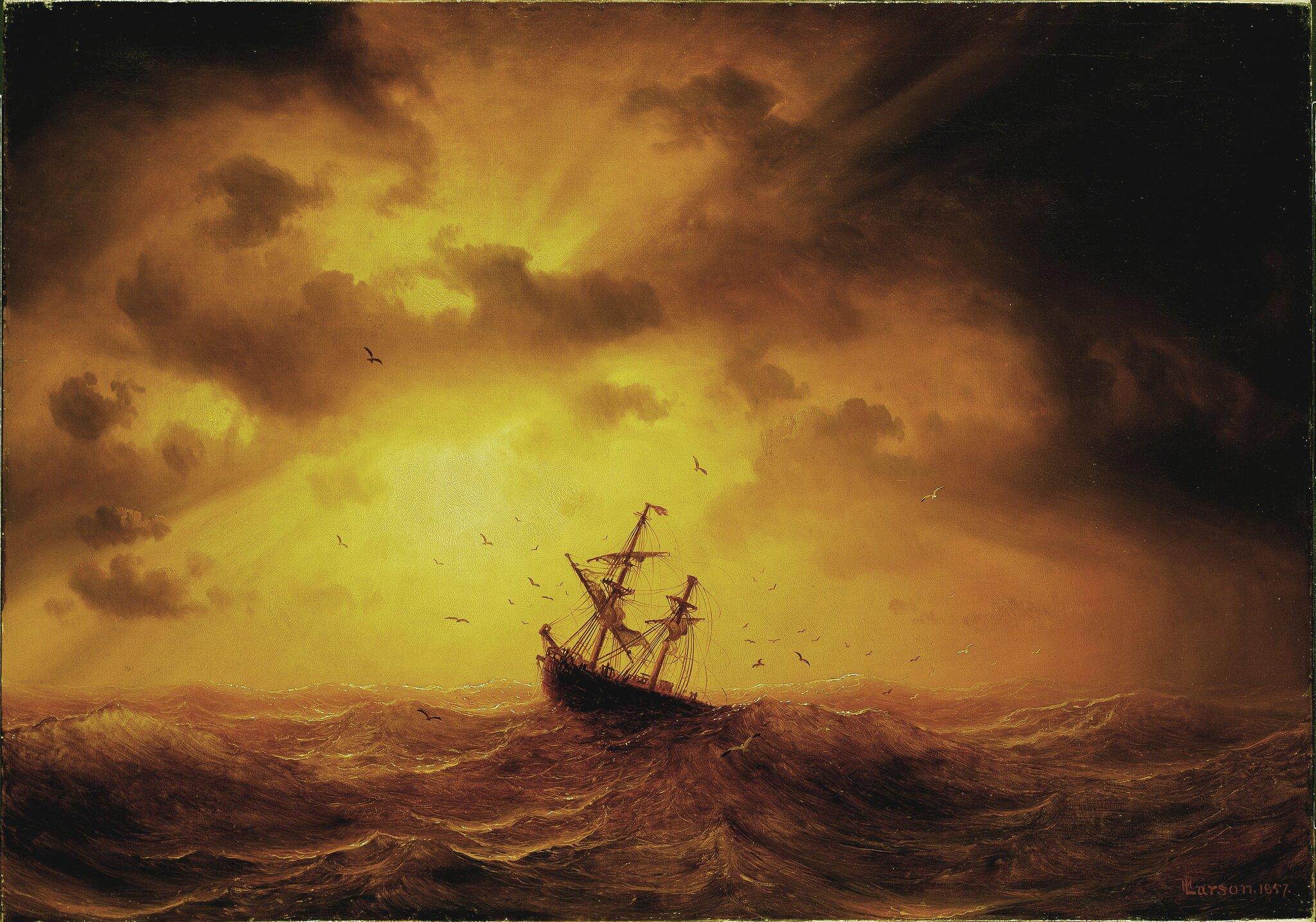 Burza na morzu Źródło: Marcus Larson, Burza na morzu, 1857, domena publiczna.