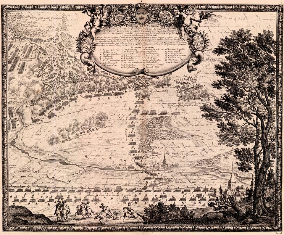 Samuel von Pufendorf, Oczynach Karola Gustawa, króla Szwecji, komentarzy ksiąg siedem, Norymberga 1696 7 maja 1656 roku podKłeckiem, nieopodal Gniezna,wojska polskie dowodzone przez Stefana Czarnieckiego, Jerzego Lubomirskiego iJana Sobieskiego stoczyły bitwę zarmią szwedzką. Wynik bitwy należy uznać za nierozstrzygnięty, mimo znacznie większych strat po stronie szwedzkiej.Nieudane próby wyciągnięcia nieprzyjaciela na otwarte pole ikonieczność ustąpienia zplacu boju,wykazały, że polska jazda nie jest wstanie pokonać okopanejarmii szwedzkiej, dysponującej artylerią.Przyznawał to teżCzarniecki, który żalił się na brakpiechoty idział. Źródło: Erik Dahlbergh, Samuel von Pufendorf, Oczynach Karola Gustawa, króla Szwecji, komentarzy ksiąg siedem, Norymberga 1696, domena publiczna.