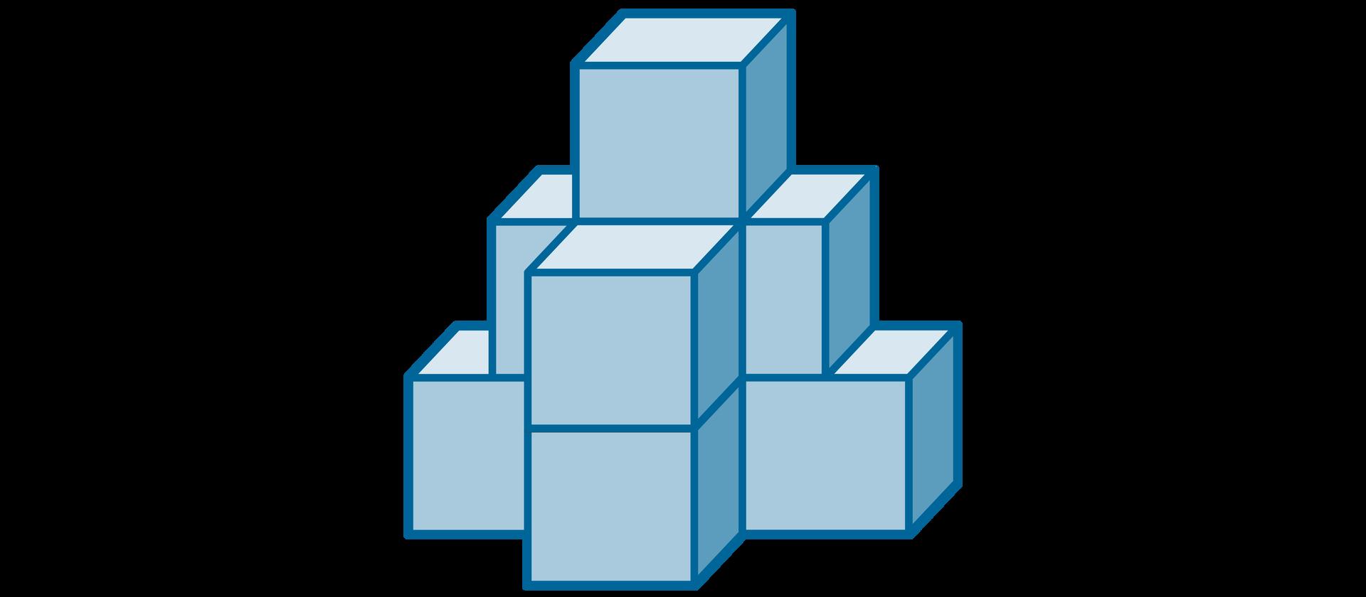 Rysunek figury zbudowanej zośmiu jednakowych sześcianów.