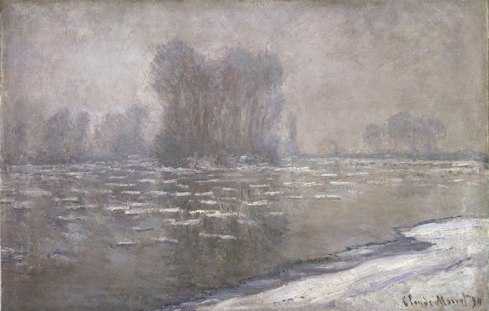 """Ilustracja przedstawia dzieło Calude Moneta """"Kry wglisty poranek"""". Artysta przedstawił rzekę, na które znajdują się zmarznięte kry. Dzieło pokazuje zimową scenerię. Ma wsobie dużo bieli iszarości"""