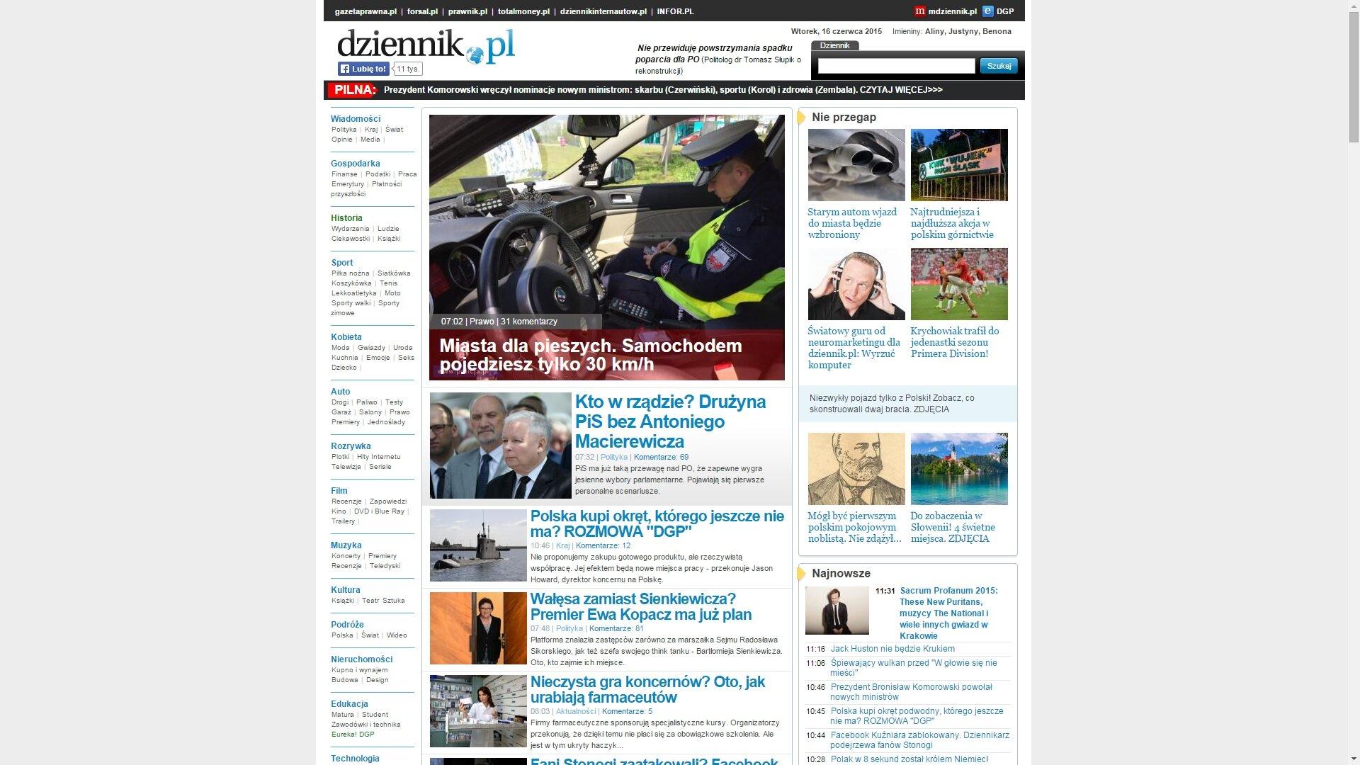 Zrzut ekranu ze strony www.dziennik.pl