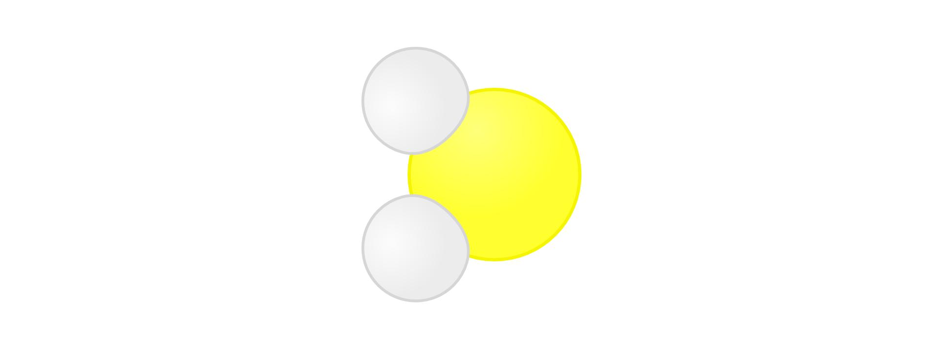 Ilustracja przedstawia model cząsteczki siarkowodoru składającej się zdwóch atomów wodoru symbolizowanych małymi białymi kołami ustawionymi jedno nad drugim po lewej stronie obrazka oraz połączonego znimi atomu siarki symbolizowanego większym żółtym kołem ustawionego po ich prawej stronie pomiędzy nimi. Cały rysunek przypomina model cząsteczki wody, wktórej atom tlenu zastąpiono atomem siarki.