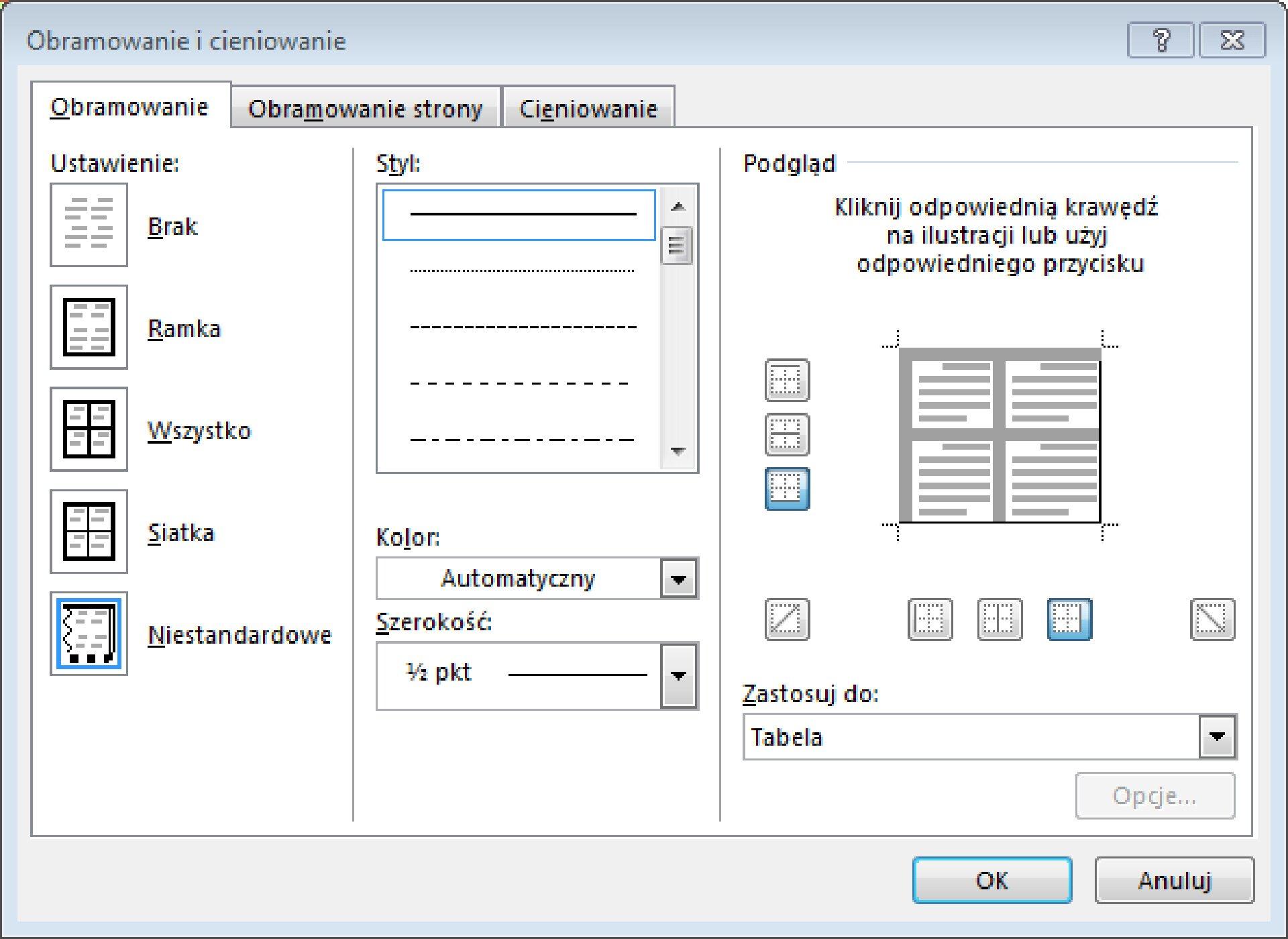 Zrzut okna: Obramowanie icieniowanie znarzędziami do obramowania wprogramie MS Word