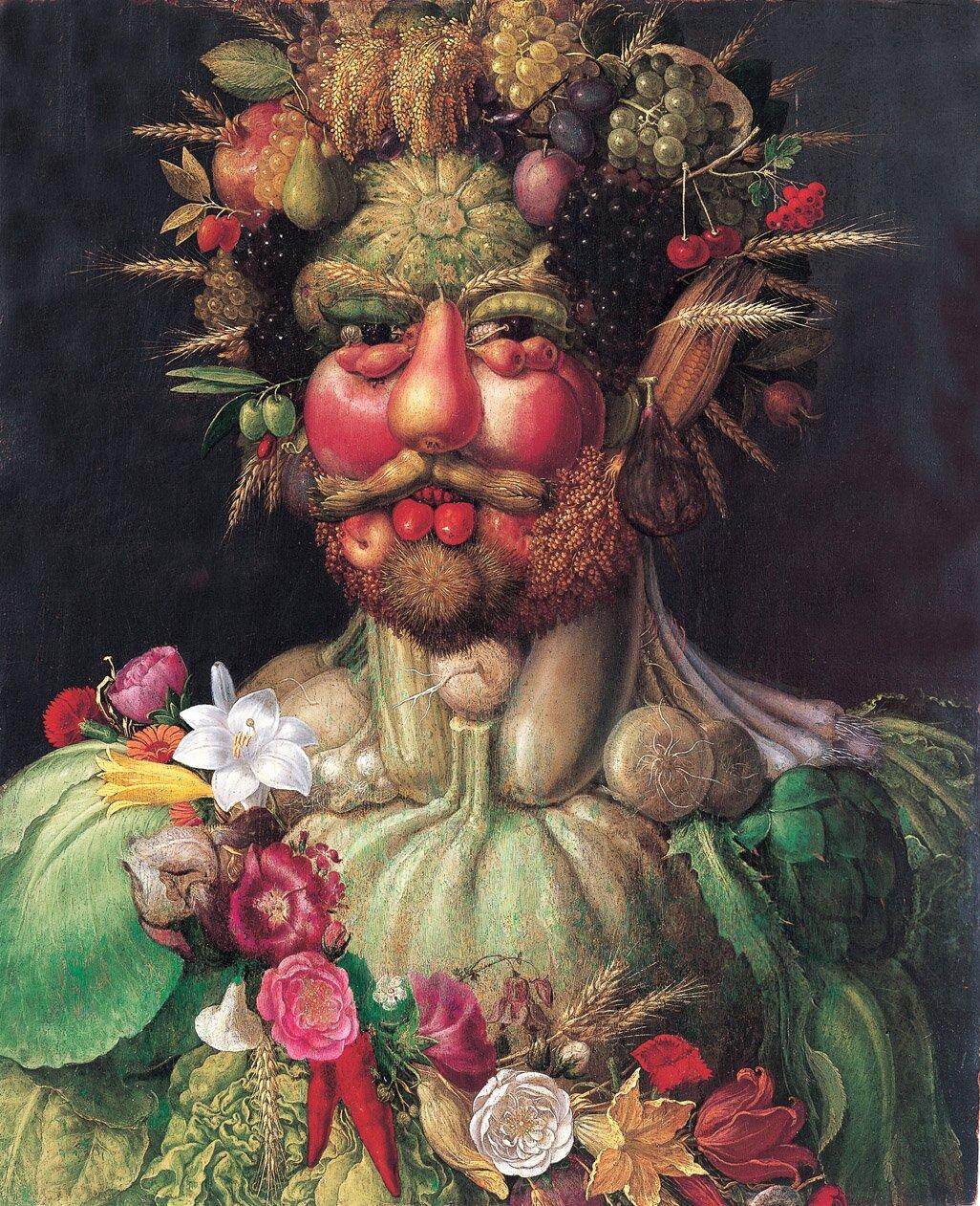 Alegoryczny portret cesarza Rudolfa II. (1590) Alegoryczny portret cesarza Rudolfa II. (1590) Źródło: Giuseppe Arcimboldo, ok. 1590, Olej na płótnie, Skokloster Castle, domena publiczna.