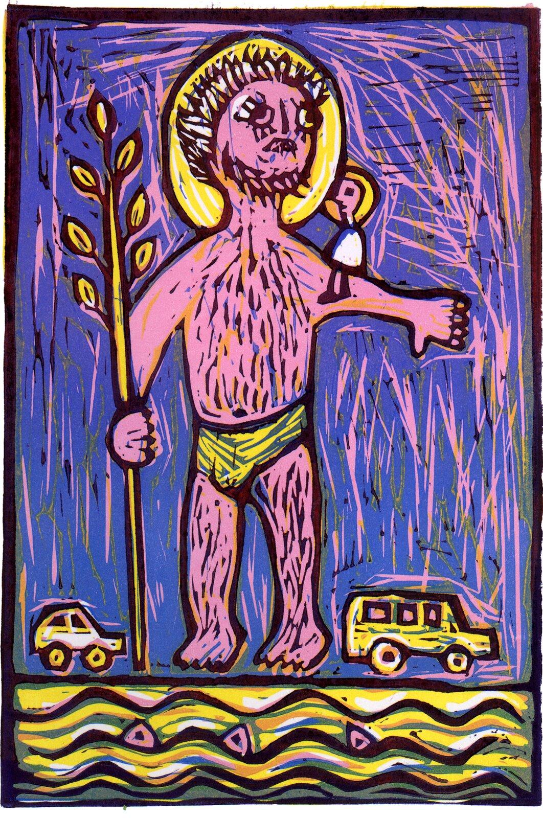 Ilustracja przedstawia linoryt autorstwa Joanny Frydrychowicz-Janiak, który ukazuje św. Krzysztofa. Święty jest półnagi, awdłoni trzyma kij zliśćmi. Na jego ramieniu siedzi Dzieciątko Jezus. Obydwaj wokół głów mają żółte nimby. Tło jest niebieskie, audołu jadą dwa żółte samochody. Pod nimi płynie rzeka.