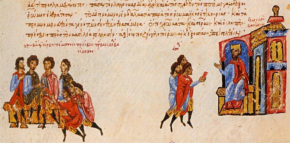 Ilustracja zXII-wiecznego bizantyńskiego rękopisu Źródło: Ilustracja zXII-wiecznego bizantyńskiego rękopisu, licencja: CC 0.