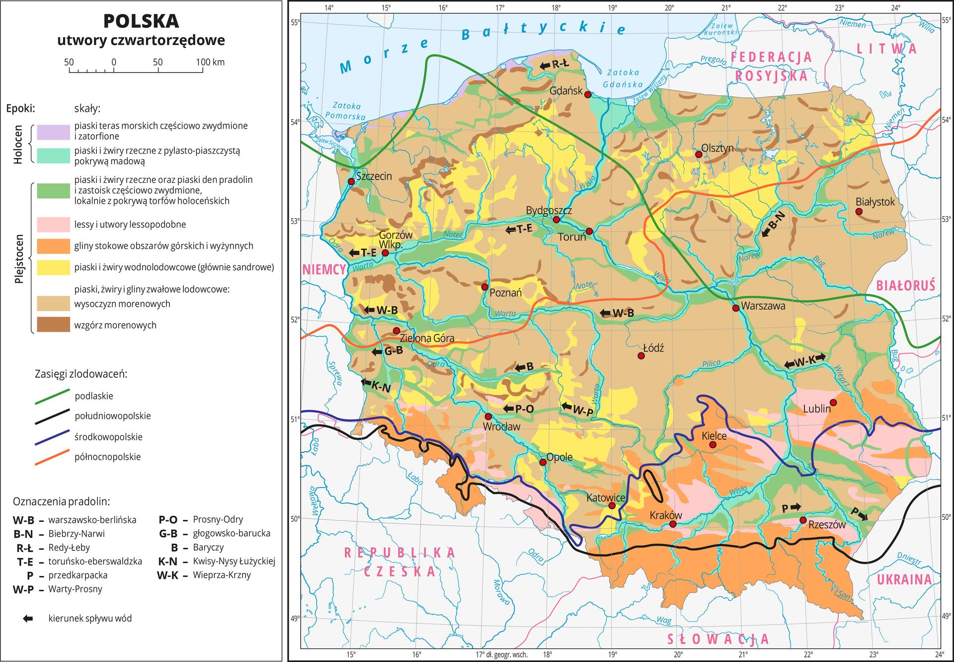 Ilustracja przedstawia mapę Polski. Na mapie kolorami zaznaczono rodzaje skał zepoki plejstocenu iholocenu czyli utwory czwartorzędowe. Czerwonymi kropkami zaznaczono miasta wojewódzkie iopisano je. Opisano rzeki ipaństwa sąsiadujące zPolską.Większą część obszaru Polski pokrywa jasnobrązowy obrazujący plejstoceńskie piaski żwiry igliny zwałowe lodowcowe występujące pod postacią wysoczyzn morenowych. Poprzeplatane są one kolorem żółtym obrazującym piaski iżwiry wodnolodowcowe, głównie sandrowe. Obszary górskie oznaczono kolorem pomarańczowym obrazującym gliny stokowe. Wzdłuż rzek występuje kolor zielony obrazujący piaski iżwiry rzeczne oraz piaski den pradolin. Kolor różowy na obszarze Wyżyny Częstochowskiej, Wyżyny Lubelskiej iKotliny Sandomierskiej obrazuje lessy.Kolorowymi liniami przedstawiono zasięg czterech zlodowaceń. zlodowacenie podlaskie – zielona linia biegnie zpółnocnego zachodu na środkowy wschód.zlodowacenie południowopolskie – czarna linie biegnie równoleżnikowo na południu Polski wzdłuż Przedgórza Sudeckiego iPodgórza Karpackiego.zlodowacenie środkowopolskie – niebieska linia biegnie zzachodu na wschód najpierw wzdłuż Przedgórza Sudeckiego, następnie skręca na północ ponad Kielce, potem kieruje się na południe ku ujściu Sanu do Wisły ipotem kieruje się na wschód.zlodowacenie północnopolskie – czerwona linia biegnie zokolic Zielonej Góry zzachodu na wschód, na wysokości Niziny Mazowieckiej kierując się ku północy.Dookoła mapy wbiałej ramce opisano współrzędne geograficzne co jeden stopień. Po lewej stronie mapy wlegendzie umieszczono wpionie osiem kolorowych prostokątów, które opisano nazwami skał zokresu plejstocenu iholocenu, opisano zasięgi zlodowaceń iliterowe oznaczenia pradolin.