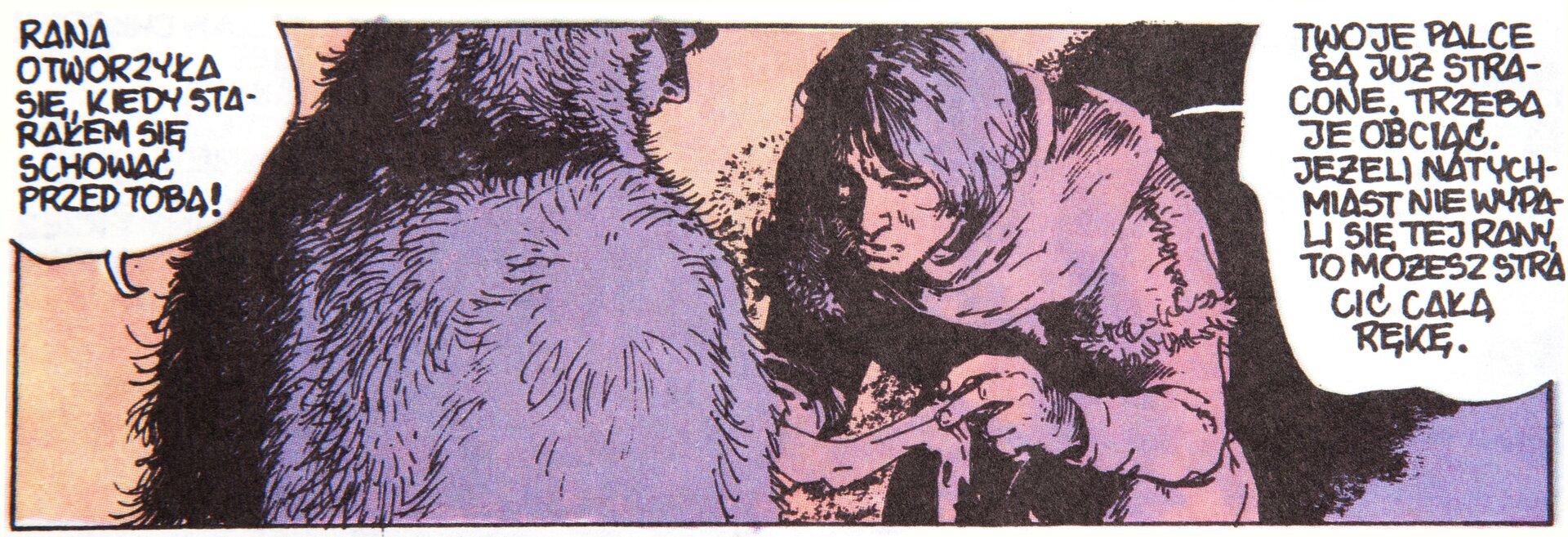 """Ilustracja przedstawia fragment komiksu """"Skąd się bierze woda sodowa. Inie tylko"""". Ukazuje dwóch mężczyzn. Mężczyzna po lewej ubrany jest wfutro zkapturem istoi tyłem do widza. Mężczyzna zprawej odługich, czarnych włosach. ubrany jest włachmany. Pochyla się przed drugą postacią, przyglądając się jego ręce. Cała scena utrzymana jest wkolorystyce różu ifioletu. Przy postaciach znajdują się dymki. Mężczyzna zlewej mówi: Rana otworzyła się, kiedy starałem się schować przed tobą! Postać zprawej odpowiada: Twoje palce są już stracone, trzeba je obciąć. Jeżeli natychmiast nie wypali się tej rany, to możesz stracić całą rękę."""