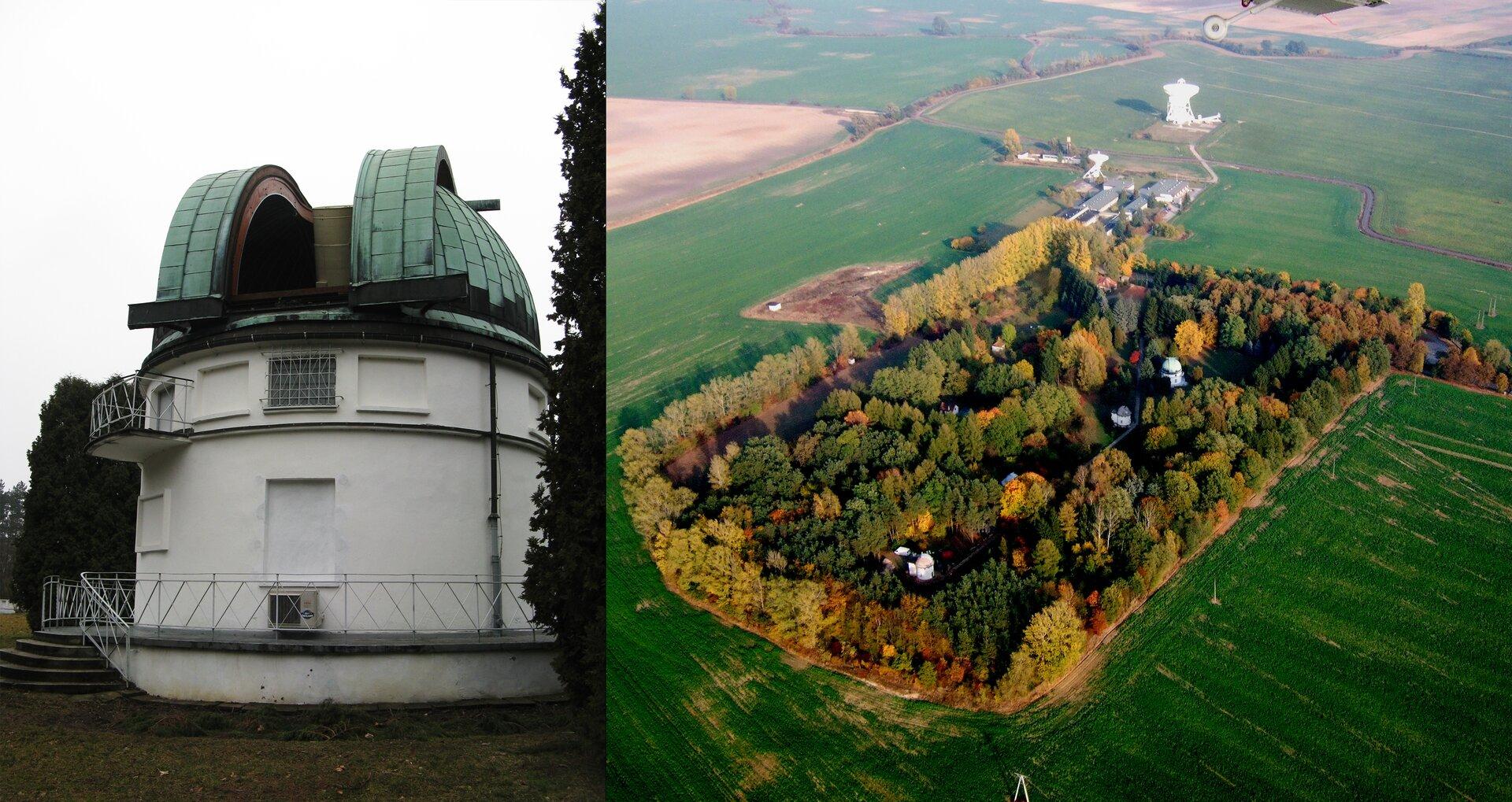 Fotografia po lewej stronie prezentuje budynek obserwatorium oowalnym kształcie zwieńczony rozsuwaną kopułą, przez którą wystaje teleskop. Obok zdjęcie wykonane zwysokości, na którymi widać prostokątny zadrzewiony teren otoczony dookoła polami. Wśrodku terenu widoczne budynki dwóch obserwatoriów.