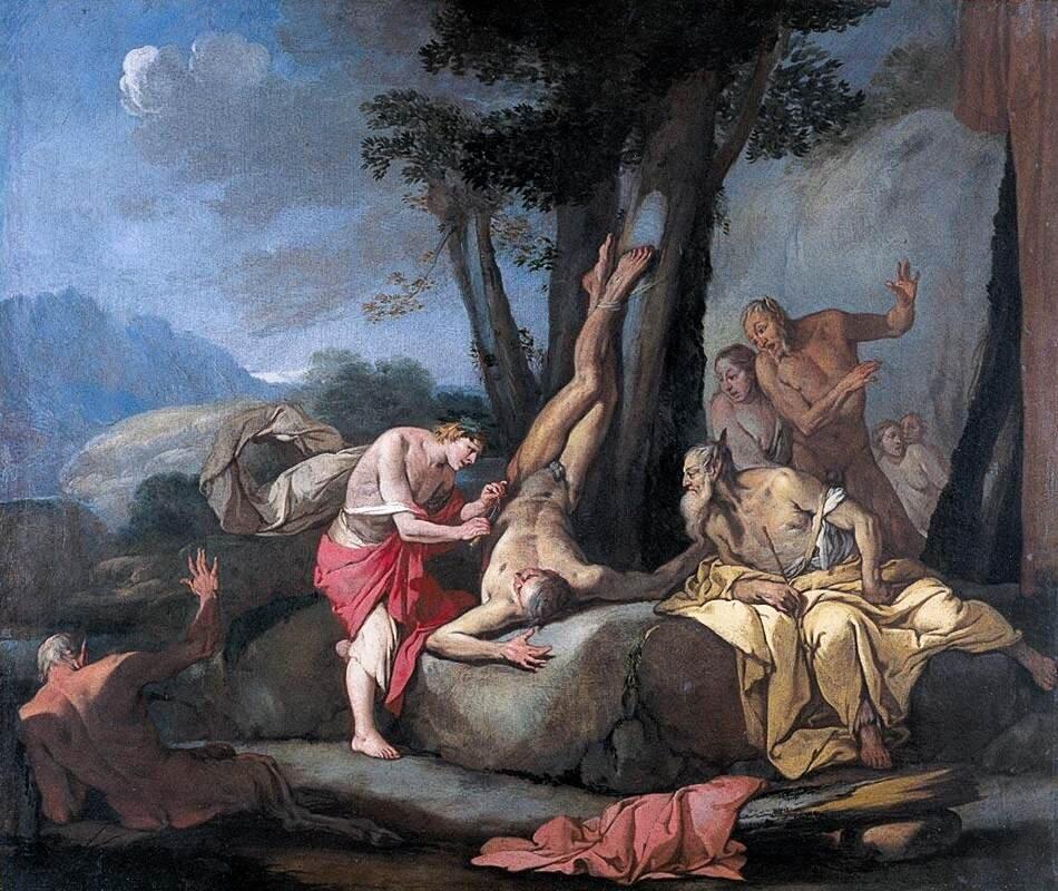Apollo iMarsjasz Włoski malarz zpierwszej połowy XVII wieku Giulio Carpioni wten sposób wyobrażał sobie scenę, wktórej Apollo zaczynał zadawanie mąk Marsjaszowi. Przyjrzyj się twarzom wszystkich postaci na obrazie ispróbuj odczytać ich uczucia Źródło: Giulio Carpioni, Apollo iMarsjasz, olej na płótnie, domena publiczna.