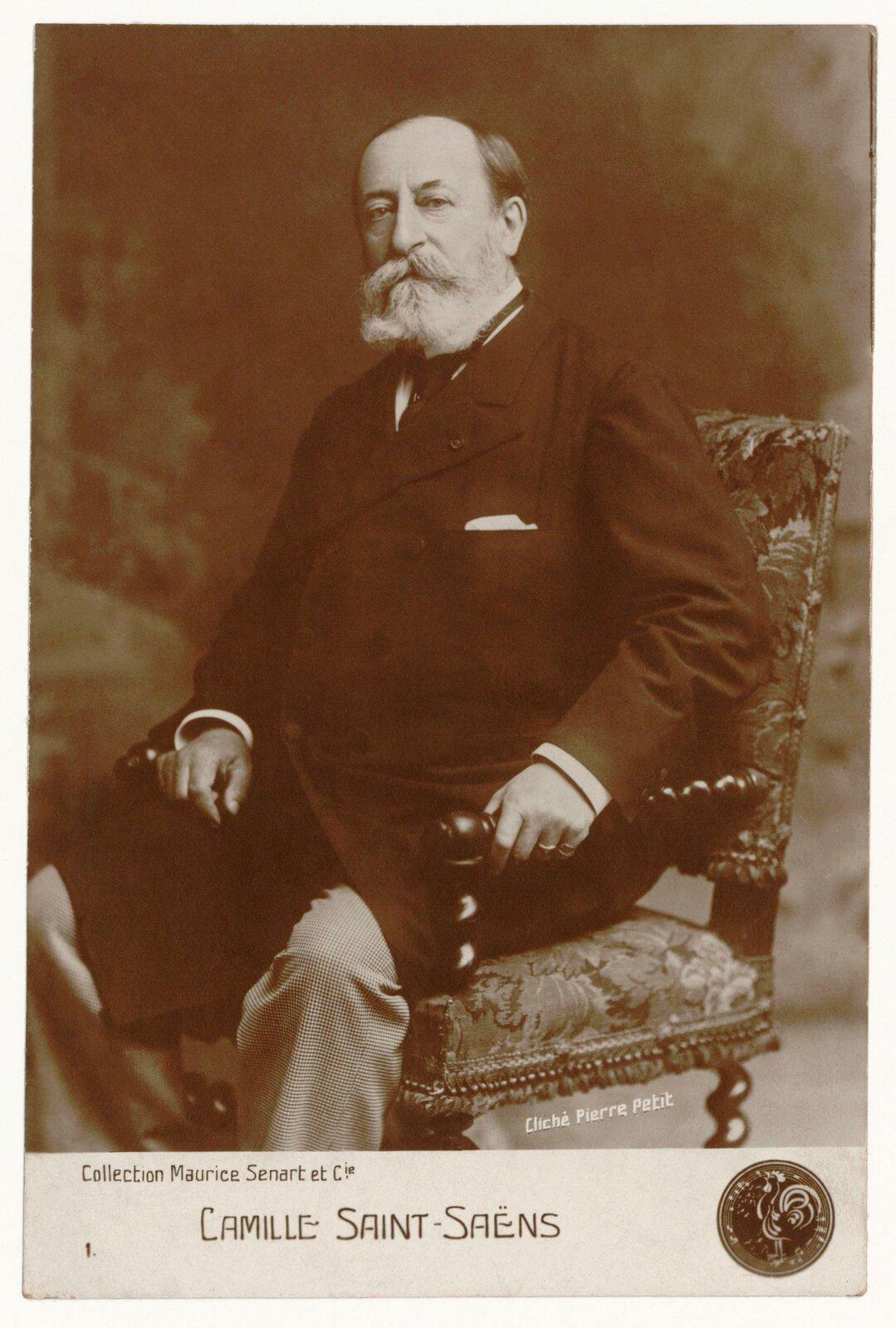 Ilustracja przedstawia fotografię zportretem Camille Saint-Saëns. Starszy mężczyzna siedzi na zdobionym fotelu. Patrzy na wprost obiektywu, ma długie, siwe wąsy ibrodę. Ubrany jest wczarny, długi płaszcz ijasne spodnie.