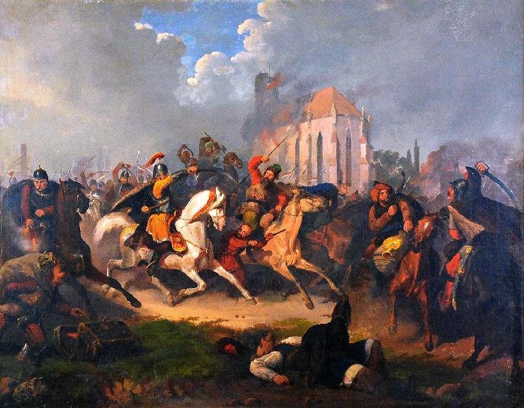 Odbicie jasyru tatarskiego Źródło: Artur Grottger, Odbicie jasyru tatarskiego, XIX w., domena publiczna.
