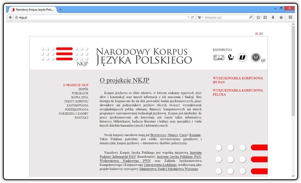 Slajd 1 galerii zrzutów okna strony: http://nkjp.pl/