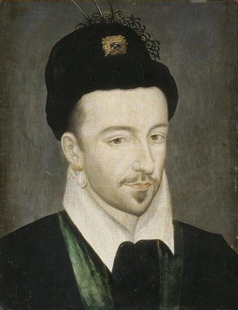 Henryk III, król Francji Henryk III, wPolsce znany jako Henryk Walezy. WPolsce panował wlatach 1573-1574 (ur. 1551, król Francji od 1574, zm. 1589); portret autorstwa François Clouet powstał ok. 1570 r. Źródło: Henryk III, król Francji, ok. 1571-1581, olej na drewnie, Pałac wWersalu, domena publiczna.