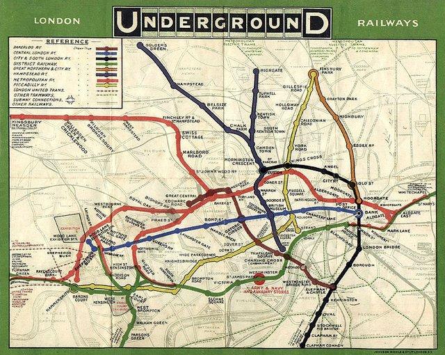Mapa londyńskiego metra z1908 roku. Mapa londyńskiego metra z1908 roku. Źródło: domena publiczna.