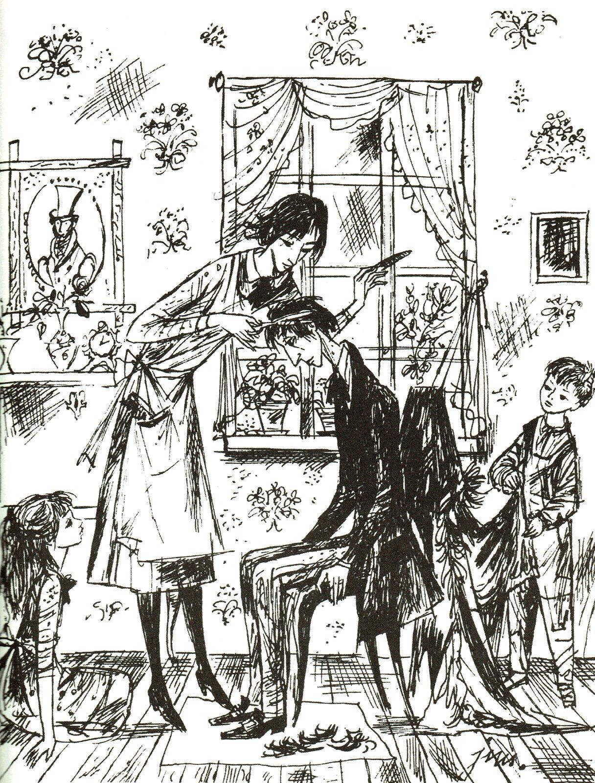 """Ilustracja przedstawia pracę Jana Marcina Szancera zksiążki Mary Norton """"Gałka do łóżka"""". Ukazuje scenę wdomu rodzinnym. Wpomieszczeniu znajduje się siedzący na krześle mężczyzna. Obok niego stoi kobieta iobcina mu włosy. Zprawej strony stoi chłopiec, azlewej na podłodze siedzi dziewczynka. Przypatrują się czynnościom. Na ścianie zwwzorami wiszą obrazy oraz znajduje się okno zzasłonkami."""