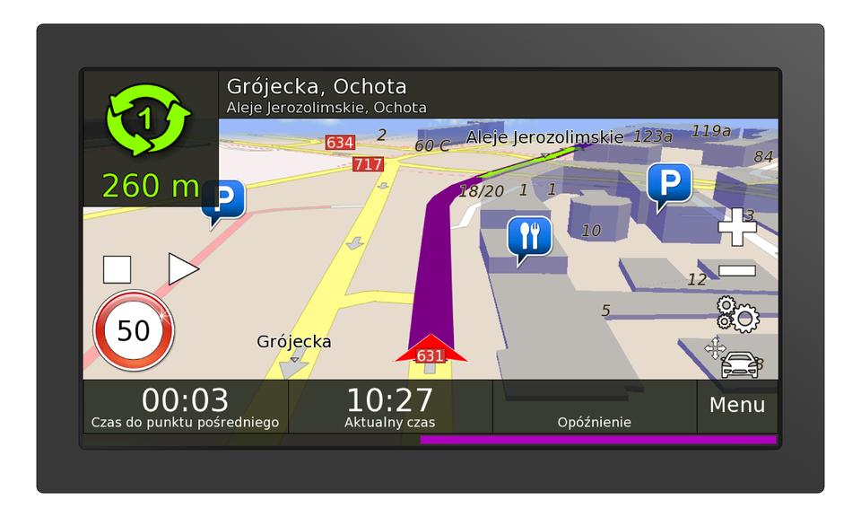 Ilustracja przedstawia wyświetlacz urządzenia do samochodowej nawigacji. Na wyświetlaczu przedstawiona jest kolorowa mapa. Wyświetlacz ma kształt prostokąta owymiarach dziesięć centymetrów na pięć centymetrów. Na górze wyświetlacza znajduje się aktualna nazwa ulicy oraz dzielnica Warszawy. Informacja to: Grójecka, Ochota, Aleje Jerozolimskie, Ochota. Wdolnej części wyświetlacza znajdują się informacje podające czas przejazdu do punktu pośredniego. Wyświetla się również aktualny czas. Wprawym dolnym rogu napis Menu. Na wyświetlaczu widoczne są dwa pasy ulicy Grójeckiej. Ulica przedstawiona jest wperspektywie. Wzdłuż ulicy wyświetlają się szare strzałki wskazujące grotem kierunek jazdy. Prawa strona mapy przedstawia zabudowaną część miasta. Budynki, restauracje iparking są przedstawione jako niebieskie bryły. Po lewej stronie wyświetlacza znak ostrzegawczy. Okrągły znak zczerwoną ramką informuje oograniczeniu prędkości do pięćdziesięciu kilometrów na godzinę.