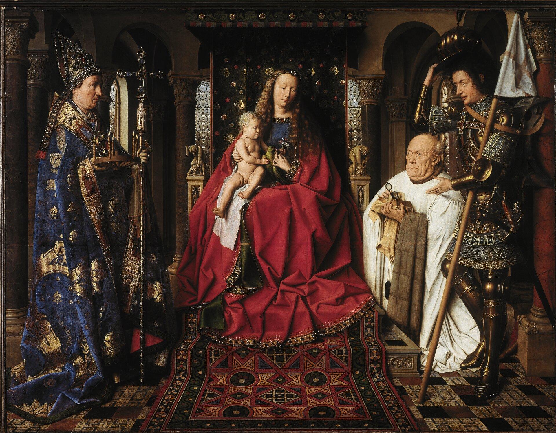 Madonna kanonika van der Paele Źródło: Jan van Eyck, Madonna kanonika van der Paele, 1436, tempera / olej na desce, Groeningemuseum, Brugia, domena publiczna.
