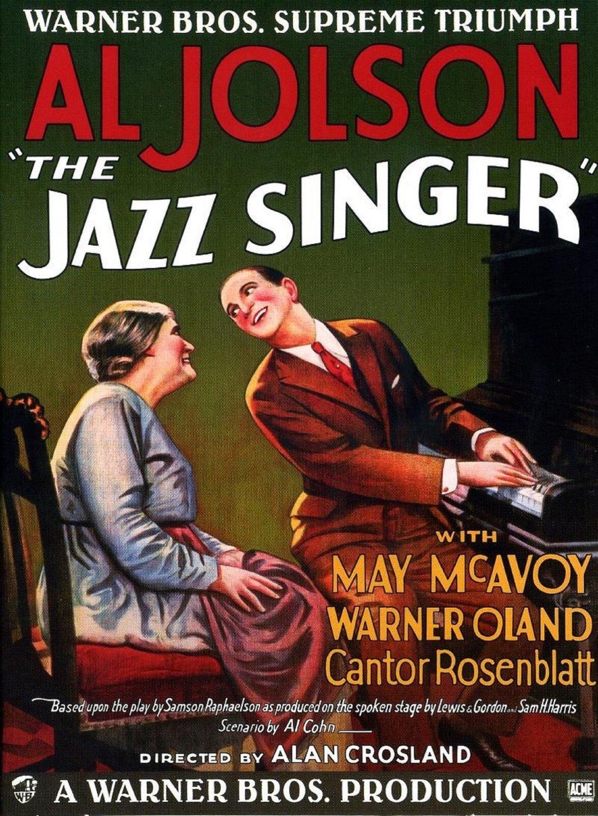 """Ilustracja przedstawia plakat """"Śpiewak jazzbandu"""". Na plakacie przedstawiony został mężczyzna grający na fortepianie, który odchyla głowę do kobiety, która siedzi obok niej. Osoby uśmiechają się do siebie."""