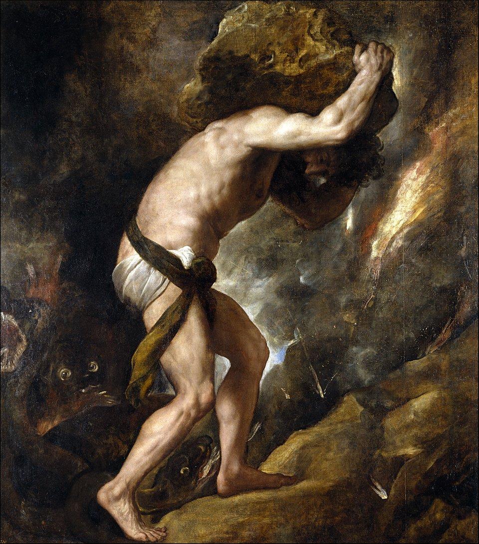 Syzyf Źródło: Tycjan, Syzyf, 1548–1549, olej na płótnie, Muzeum Prado, Madryt (Hiszpania), licencja: CC 0.