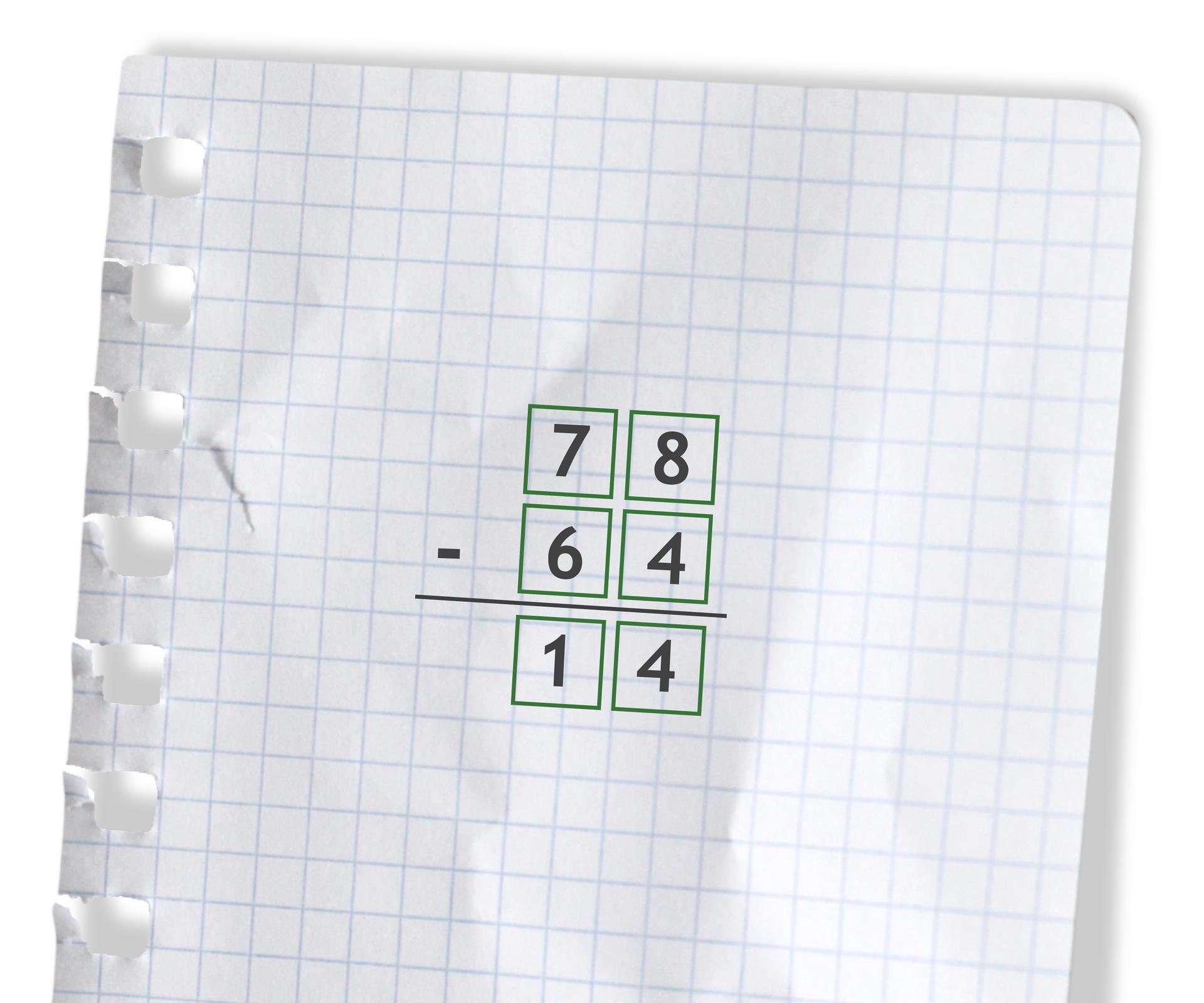 Przykład: 78 - 64 =14. Rozwiązanie zadania podpunkt a.