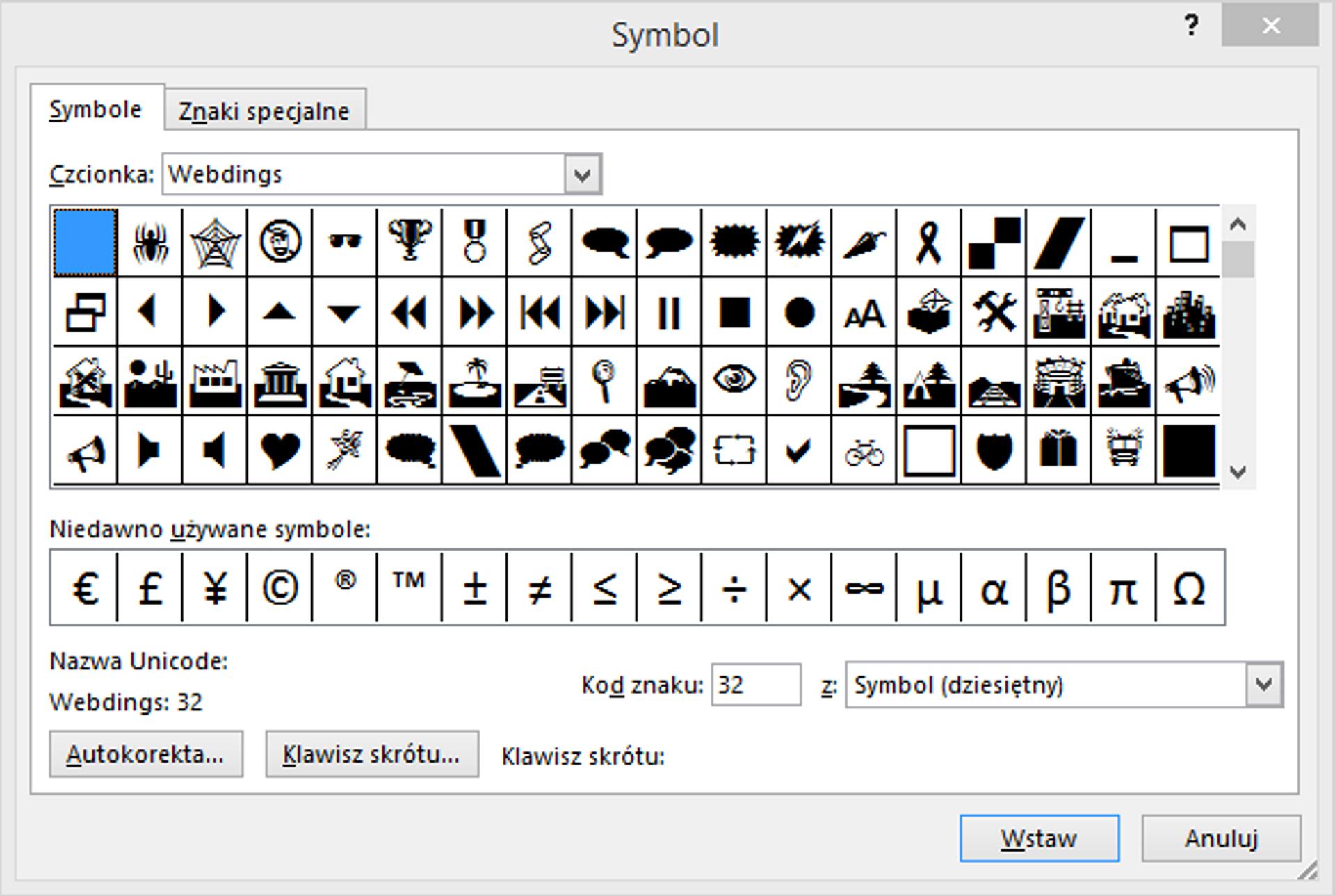 Zrzut okna: Symbol zczcionką Webdings
