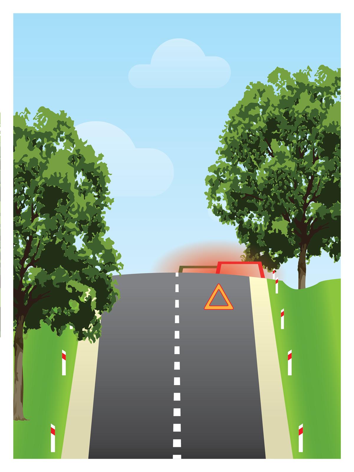 Galeria składa się zczterech rysunków ilustrujących sposób oznaczania miejsca wypadku. Rysunek numer cztery przedstawia oznakowanie miejsca wypadku mającego miejsce za wzniesieniem. Wodróżnieniu od poprzednich ilustracji ta przedstawia miejsce zdarzenia wrzucie perspektywicznym od strony nadjeżdżającego trzeciego, hipotetycznego pojazdu. Na pierwszym planie droga kończąca się wzniesieniem, po obu stronach ilustracji jasnożółte pobocze izielona trawa, słupki drogowe ipo jednym drzewie zkażdej strony drogi. Tuż przed szczytem wzniesienia na pasie ruchu zprawej strony stoi pomarańczowy trójkąt, za wzniesieniem widoczne dachy dwóch pojazdów iczerwonawa owalna łuna światła.