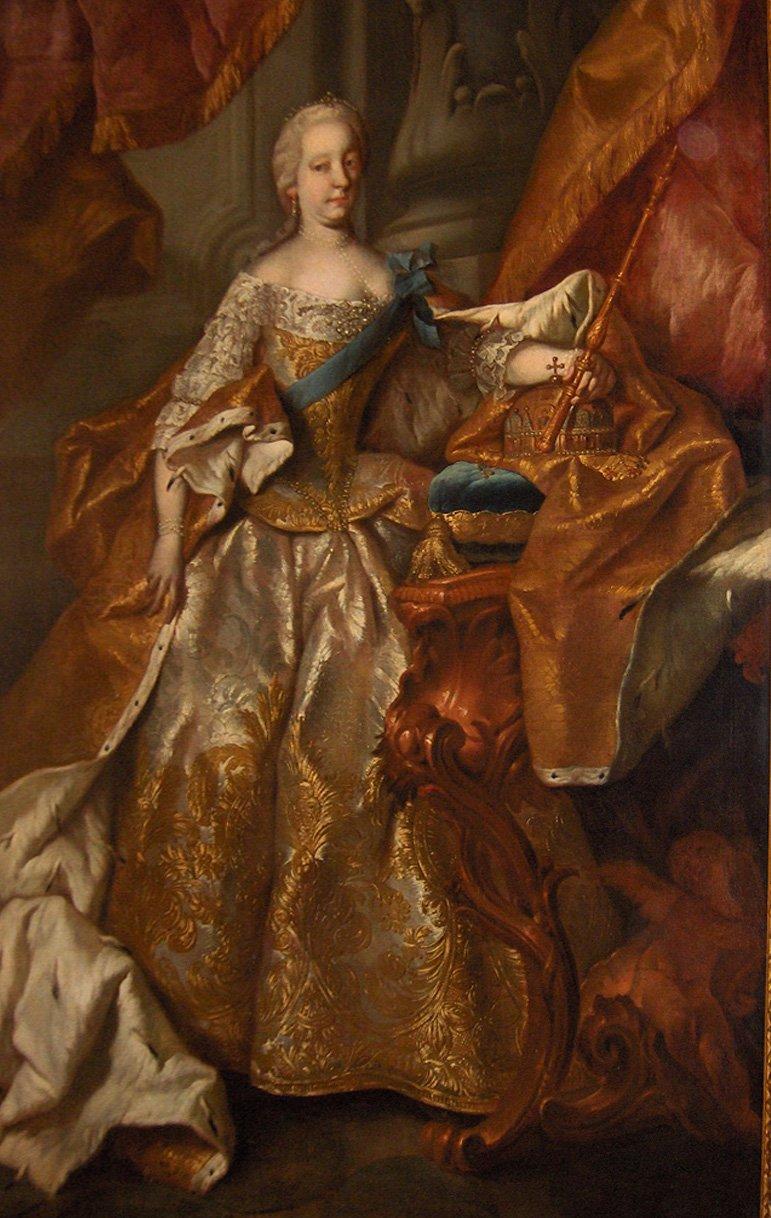 Portret Marii Teresy zok. 1741r. Obraz powstał wwarsztacie Martina van Meytensa. Portret Marii Teresy zok. 1741r. Obraz powstał wwarsztacie Martina van Meytensa. Źródło: Martin van Meytens, 1741, olej na płótnie, Melk Abbey, Austria, domena publiczna.