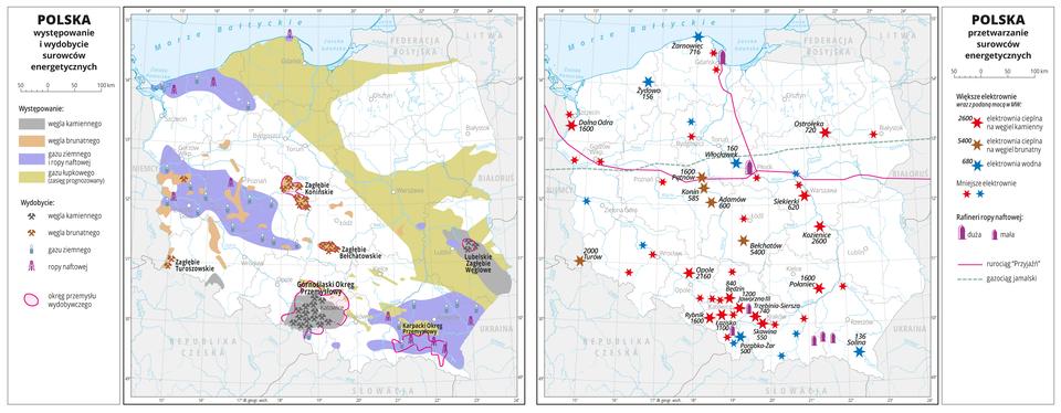 Ilustracja przedstawia mapę Polski. Na mapie przedstawiono występowanie iwydobycie surowców energetycznych (węgla kamiennego, węgla brunatnego, gazu ziemnego iropy naftowej) oraz prognozowane występowanie gazu łupkowego (od północnych obszarów kraju –basen bałtycki, przez regiony centralne – basen podlaski, po wschodnie – basen lubelski). Złoża surowców przedstawiono kolorami, aza pomocą sygnatur przedstawiono miejsca wydobycia poszczególnych surowców. Występowanie iwydobycie większości surowców skupione jest wpołudniowej oraz zachodniej części Polski. Opisano nazwy okręgów przemysłowych: Górnośląski Okręg Przemysłowy (węgiel kamienny), Zagłębie Bełchatowskie(węgiel brunatny), Zagłębie Konińskie (węgiel brunatny), Zagłębie Turoszowskie (węgiel brunatny), Lubelskie Zagłębie Węglowe (węgiel kamienny), Karpacki Okręg Przemysłowy (gaz ziemny iropa naftowa). Granice województw zaznaczone są szarą linią. Białymi kropkami zaznaczono miasta wojewódzkie. Mapa pokryta jest równoleżnikami ipołudnikami. Dookoła mapy wbiałej ramce opisano współrzędne geograficzne co jeden stopień. Wlegendzie opisano znaki użyte na mapie.