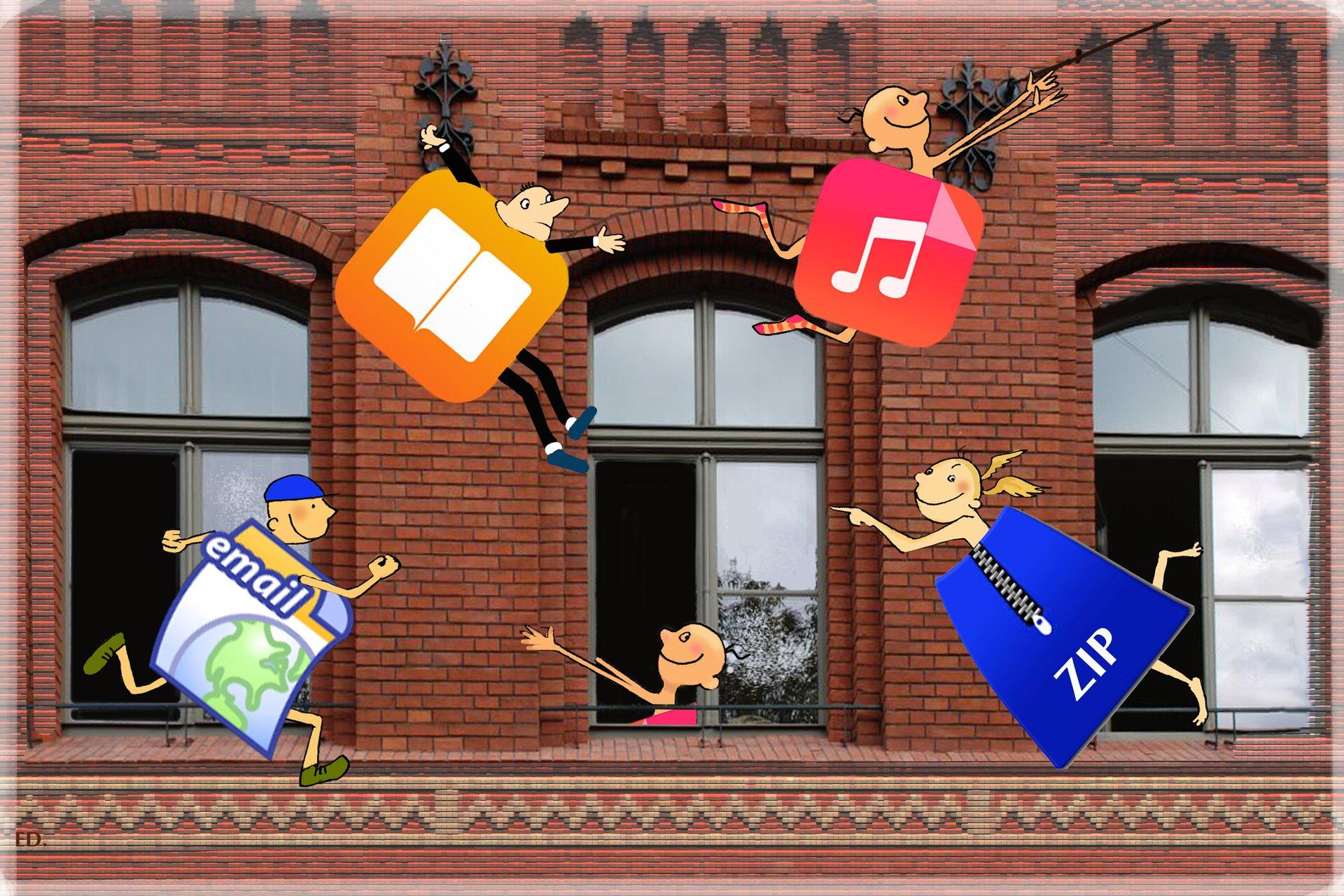 Ilustracja przedstawiająca skaczące pliki na tle budynku