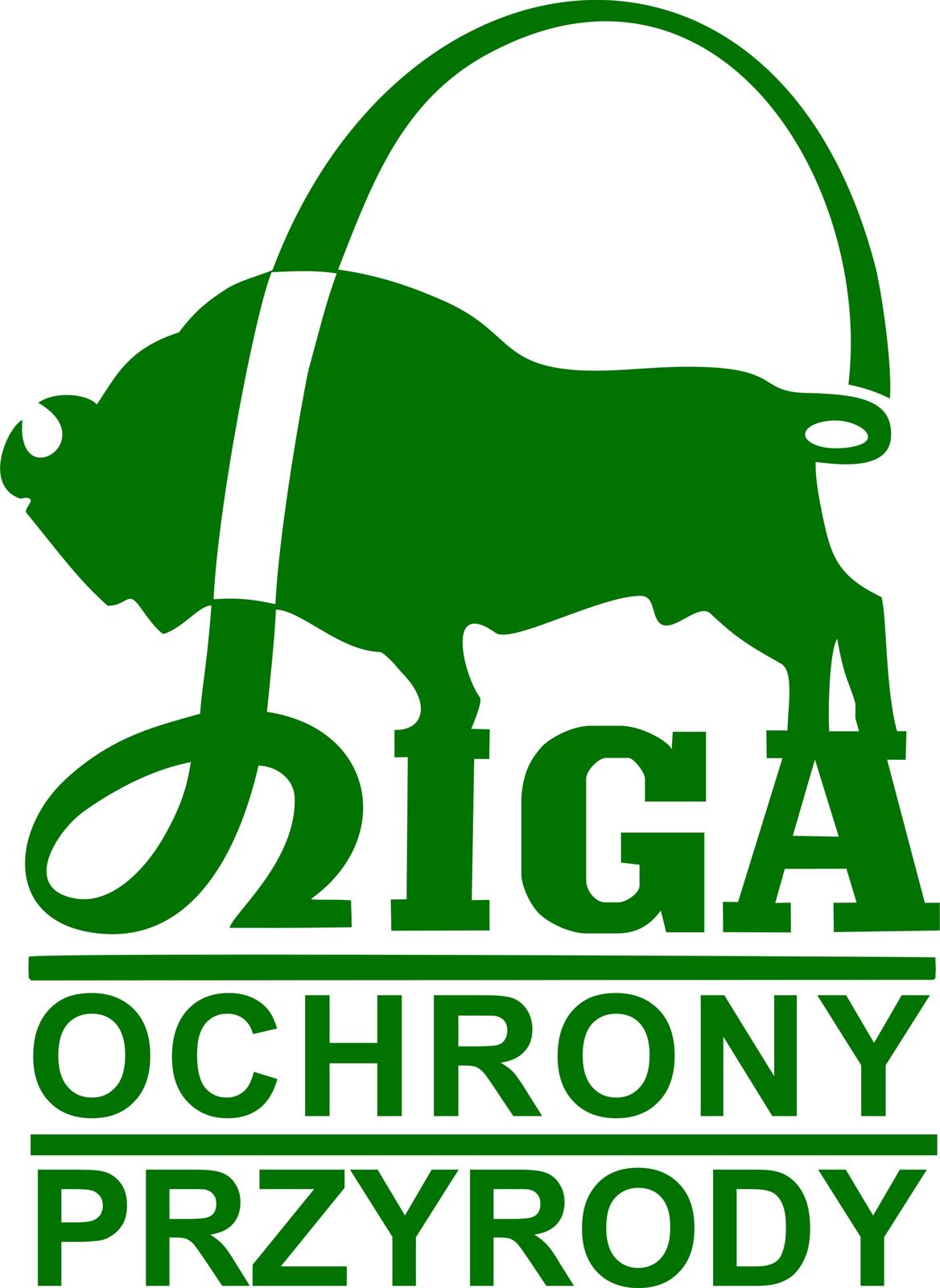 Zielone logo prezentuje żubra, który stoi na napisie Liga Ochrony Przyrody.