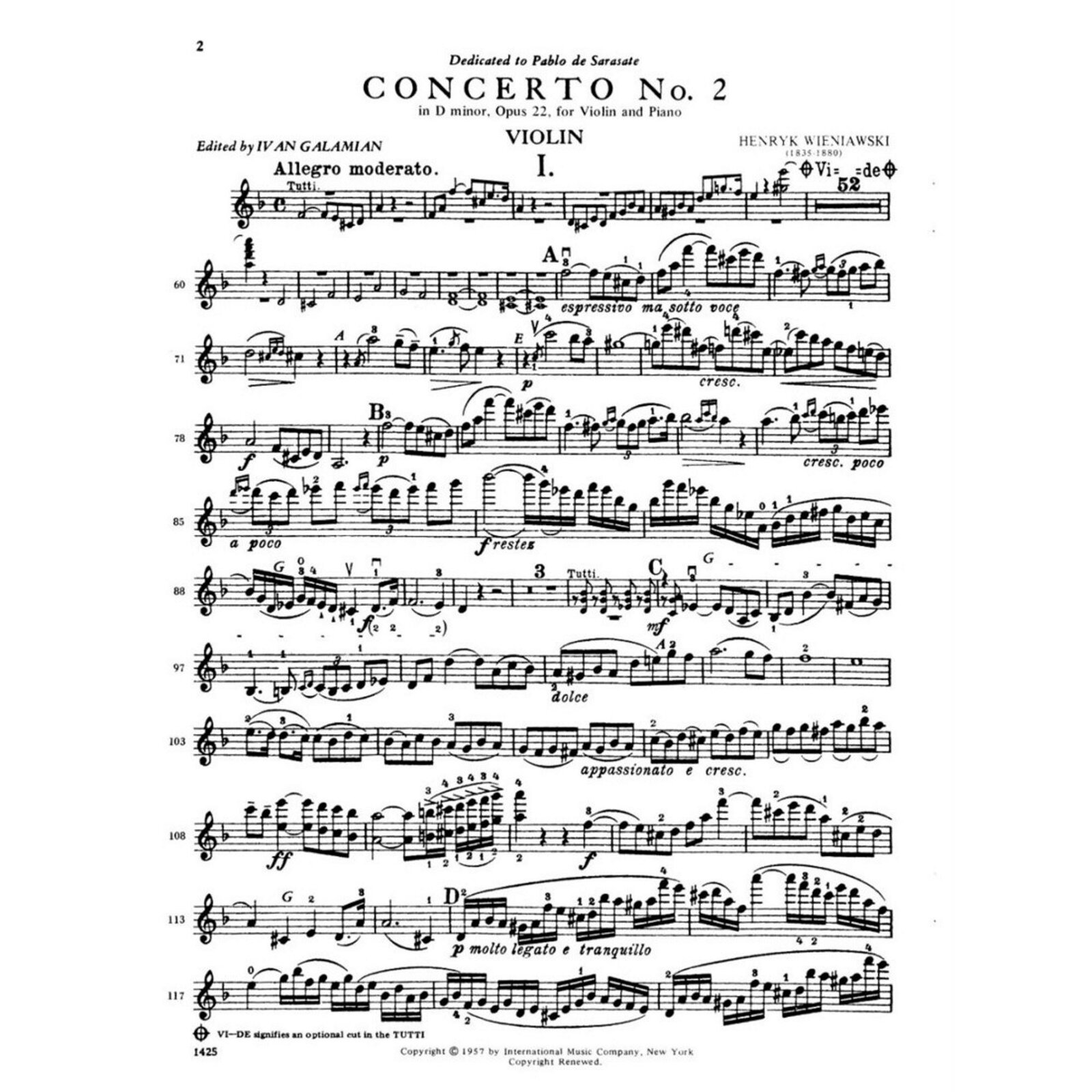 """Ilustracja przedstawia pierwszą stronę koncertu """"II Koncertu Skrzypcowego d-moll"""" (partia skrzypiec solo)."""