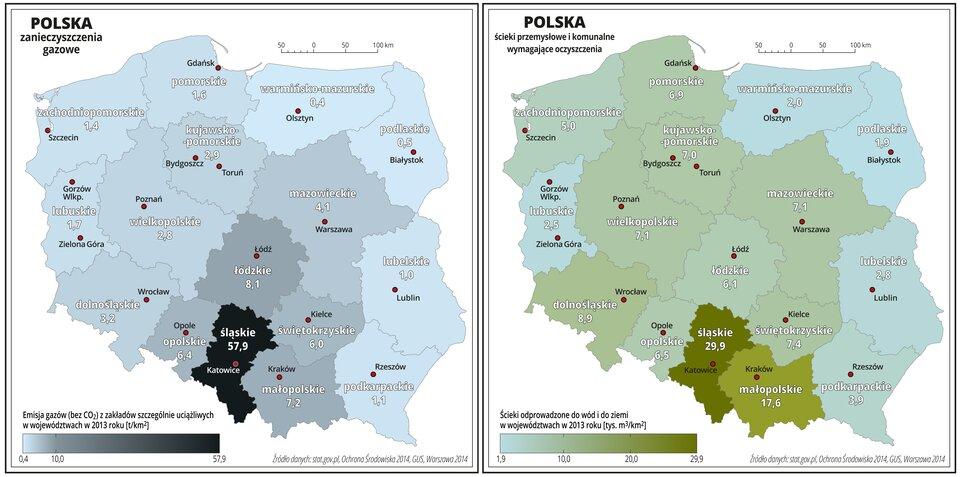 Ilustracja pierwsza przedstawia mapę Polski zpodziałem na województwa. Powierzchnie województw mają kolor błękitny do ciemnoszarego. Nasyceniem kolorów oznaczono emisję gazów wtonach na kilometr kwadratowy (bez dwutlenku węgla) zzakładów szczególnie uciążliwych wposzczególnych województwach wdwa tysiące trzynastym roku. Wkażdym województwie opisano wartość zanieczyszczenia. Najciemniejszy kolor jest wwojewództwie śląskim – jego nasycenie odpowiada najwyższemu zanieczyszczeniu – pięćdziesiąt siedem idziewięć dziesiątych tony zanieczyszczeń gazowych na jeden kilometr kwadratowy. Wwojewództwach sąsiednich wartości te wahają się od sześciu do ośmiu ton na jeden kilometr kwadratowy. Pozostałe województwa oznaczono kolorem błękitnym – emisja gazów waha się od zero cztery dziesiąte tony na jeden kilometr kwadratowy wwojewództwie warmińsko-mazurskim do czterech ton na jeden kilometr kwadratowy wwojewództwie mazowieckim.Czerwonymi kropkami zaznaczono miasta wojewódzkie. Po lewej stronie mapy na dole wlegendzie umieszczono poziomy pasek wkolorach od błękitnego do ciemnoszarego ioznaczono na nim wielkość zanieczyszczenia.Kolory błękitne oznaczają niewielką emisję gazów aciemnoszary wysoką. Ilustracja druga przedstawia mapę Polski zpodziałem na województwa. Powierzchnie województw mają kolor błękitny do zielonego. Nasyceniem kolorów oznaczono ilość ścieków przemysłowych ikomunalnych odprowadzanych do wód ido ziemi wtysiącach metrów sześciennych na kilometr kwadratowy wposzczególnych województwach wdwa tysiące trzynastym roku.W każdym województwie opisano wartość. Najciemniejszy kolor zielony jest wwojewództwie śląskim – jego nasycenie odpowiada najwyższemu odprowadzeniu ścieków – dwadzieścia dziewięć idziewięć dziesiątych tysiąca metrów sześciennych ścieków na jeden kilometr kwadratowy. Wwojewództwie małopolskim wartość ta wynosi siedemnaście isześć dziesiątych tysiąca metrów sześciennych na jeden kilometr kwadratowy. Pozostałe województwa oznaczono kolorem jaśniejszym – ilości