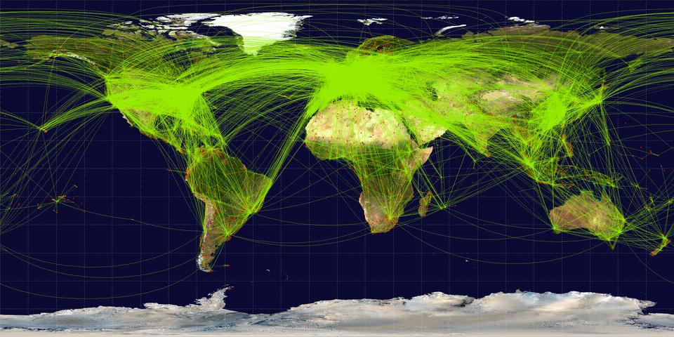 Na ilustracji mapa świata. Wody czarne. Lądy wkolorze żółtymi czarnym. Wobrębie kontynentów zaznaczone czerwonymi punktami lotniska. Pomiędzy nimi gęsta siatka linii wkolorze zielonym. Linie bardzo gęste. Najgęściej we wschodniej części Ameryki Północnej, Europie iAzji Wschodniej.