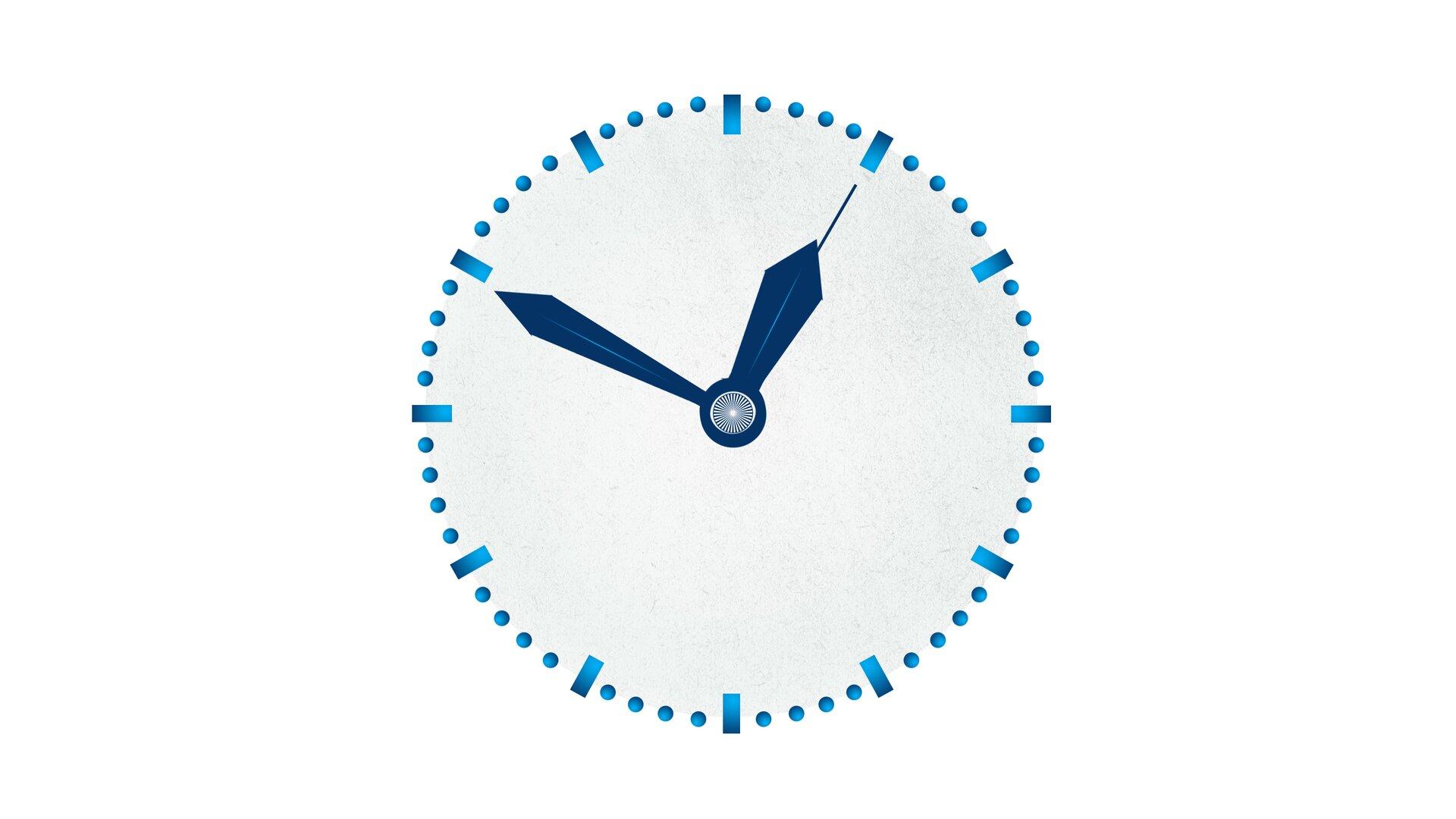 Rysunek zegara, którego wskazówki wskazują godzinę dwunastą czterdzieści dziewięć minut ipięć sekund.