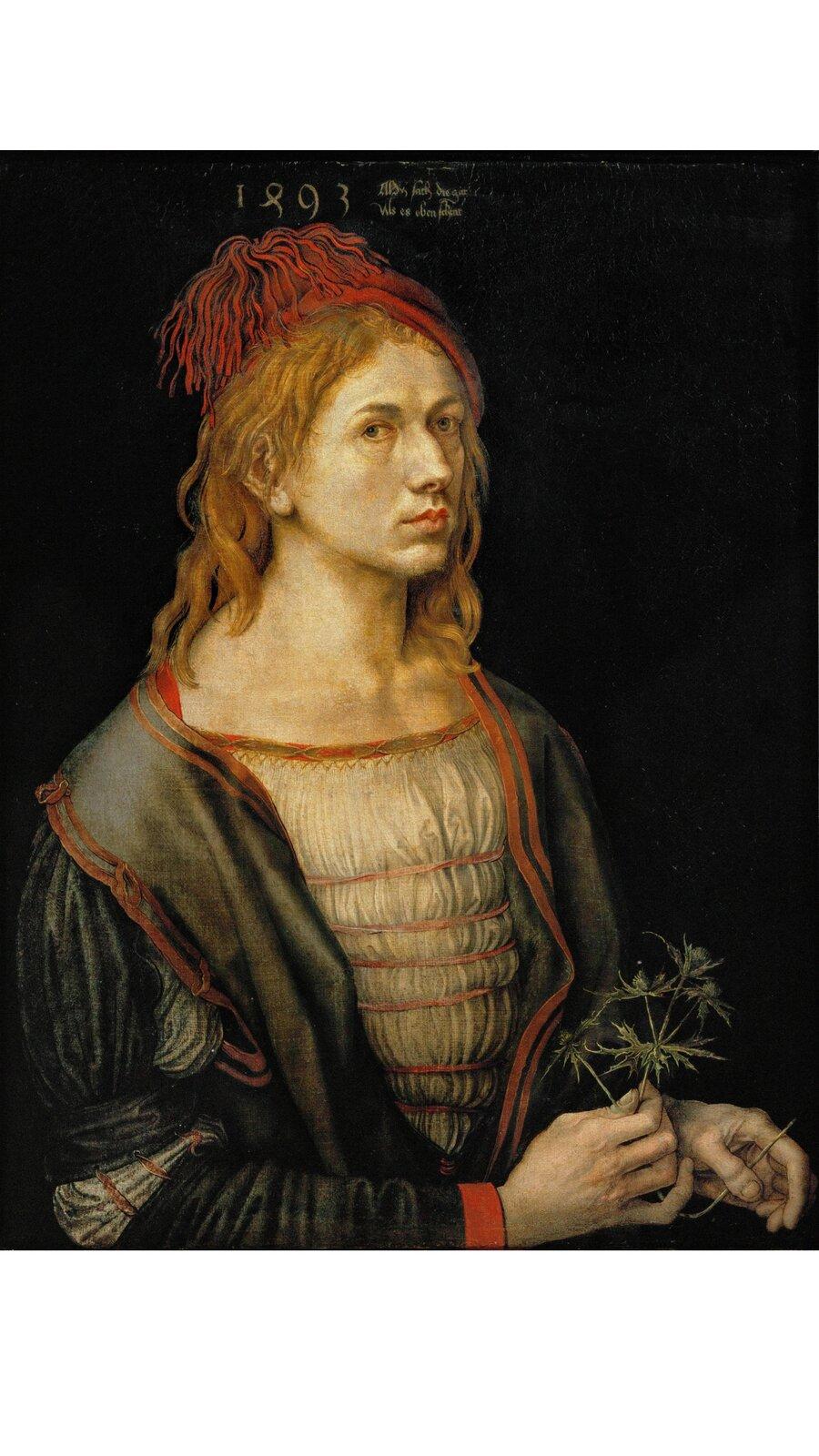 Obraz przedstawia popiersie mężczyzny trzymającego oset. Twarz ukazana jest en trois quarts, czyli wtrzech czwartych.