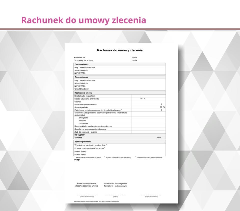 Ilustracja przedstawia rachunek do umowy zlecenia.