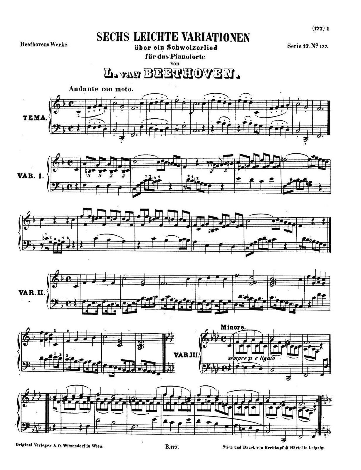"""Ilustracja przedstawia partyturę. Na pięciolinii zostały zaznaczone notacje muzyczne utworu Ludwig van Beethoven """"6 Łatwych wariacji na temat piosenki szwajcarskiej F-dur""""."""