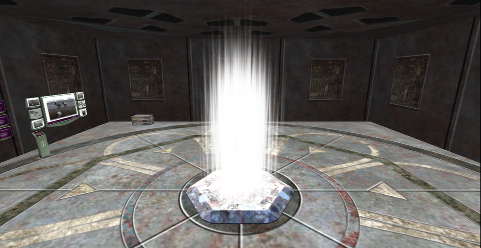 Transporter do teleportacji rasy Asgard wświecie Stargate [czyt. Stagejt],zdjęcie zgry Second Life [czyt. Seknd Lajf] Transporter do teleportacji rasy Asgard wświecie Stargate [czyt. Stagejt],zdjęcie zgry Second Life [czyt. Seknd Lajf] Źródło: Jin Zan, 2013, licencja: CC BY-SA 3.0.